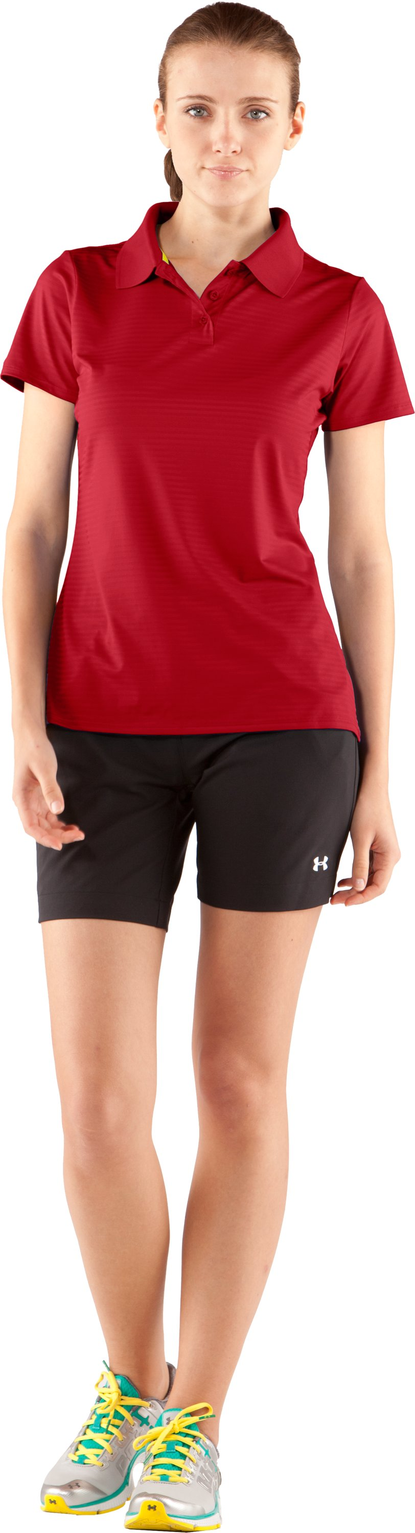 Women's UA Catalyst Team Short Sleeve Polo, Red, zoomed image