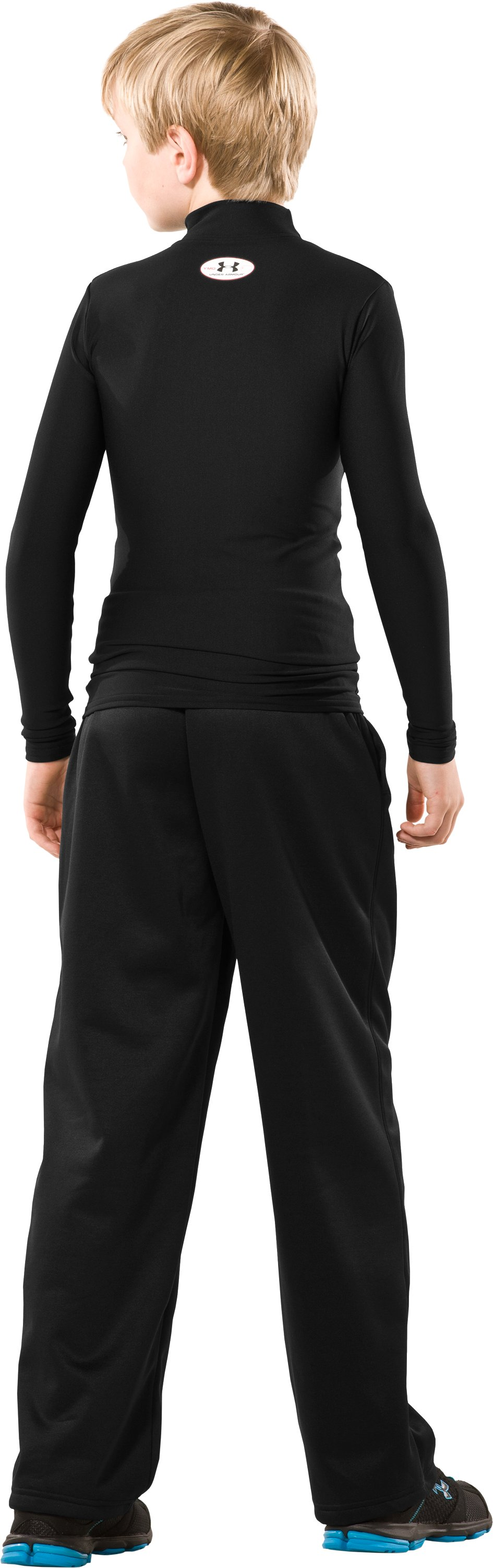 Boys' Armour® Fleece Pants II, Black , Back