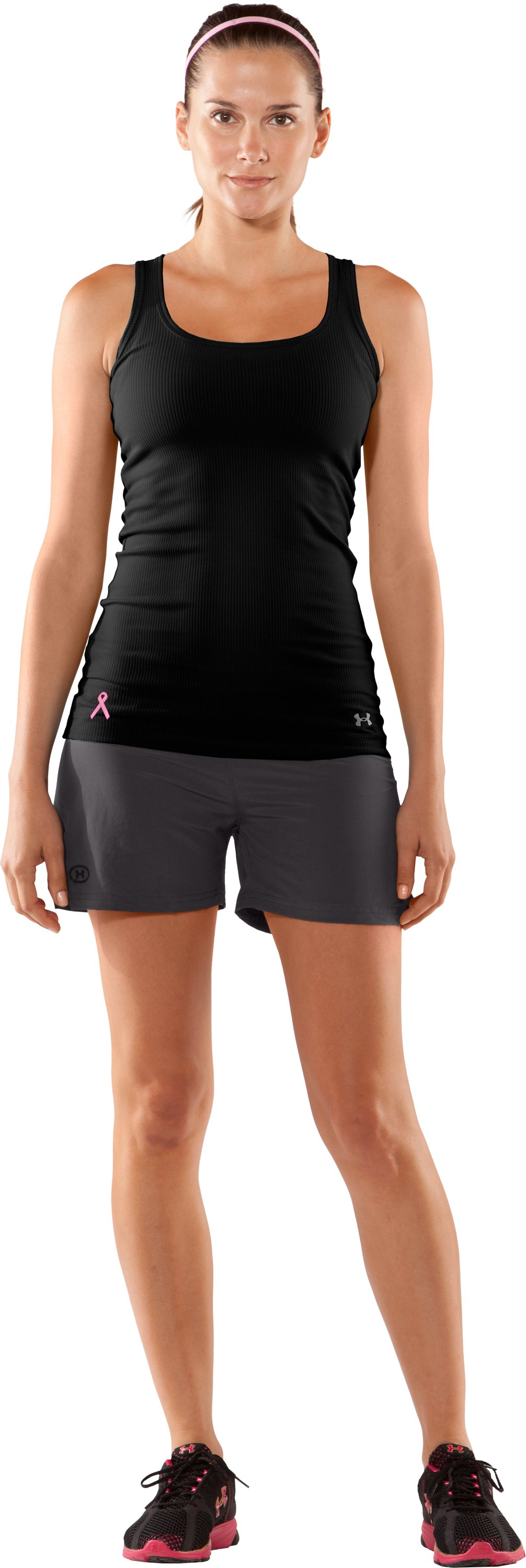 Women's UA Power In Pink® Ribbed Tank Top, Black , Front