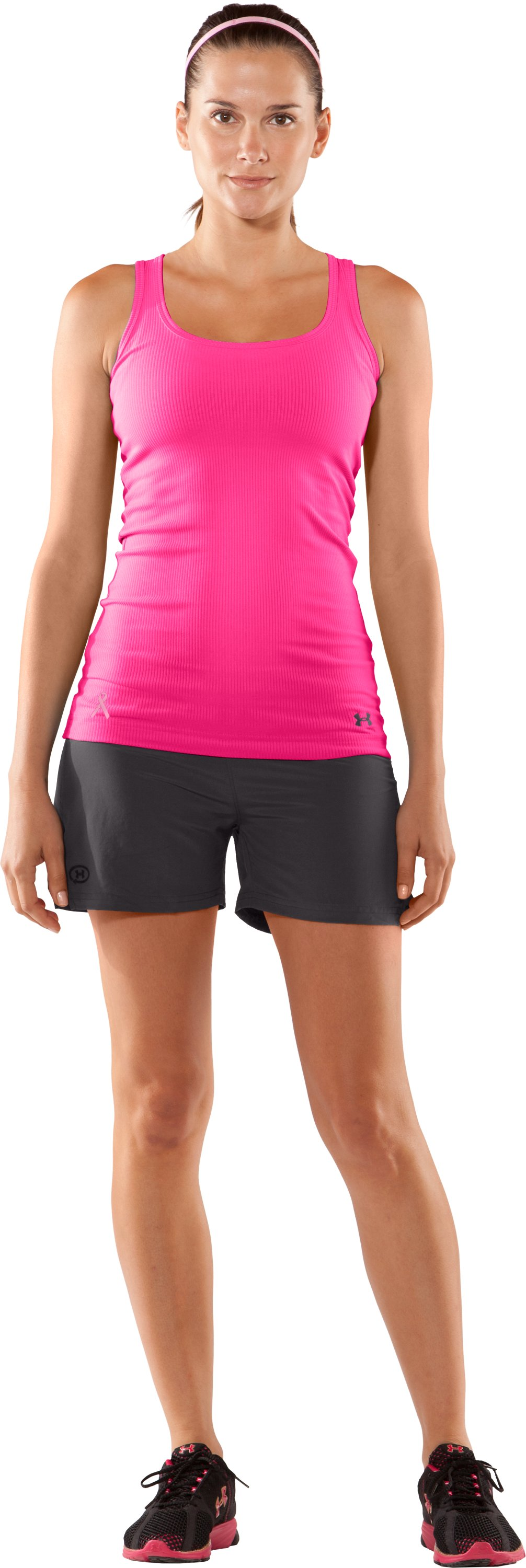 Women's UA Power In Pink® Ribbed Tank Top, Cerise, Front