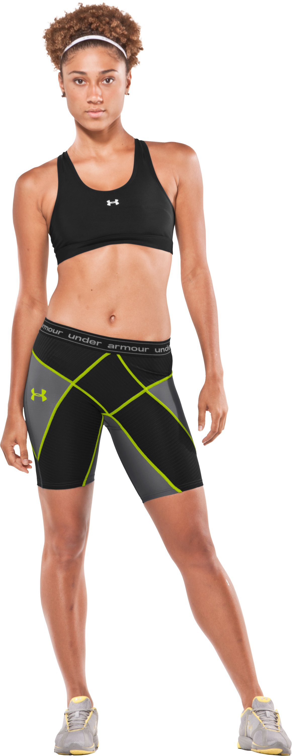 "Women's UA 8"" Coreshorts, Graphite, Front"