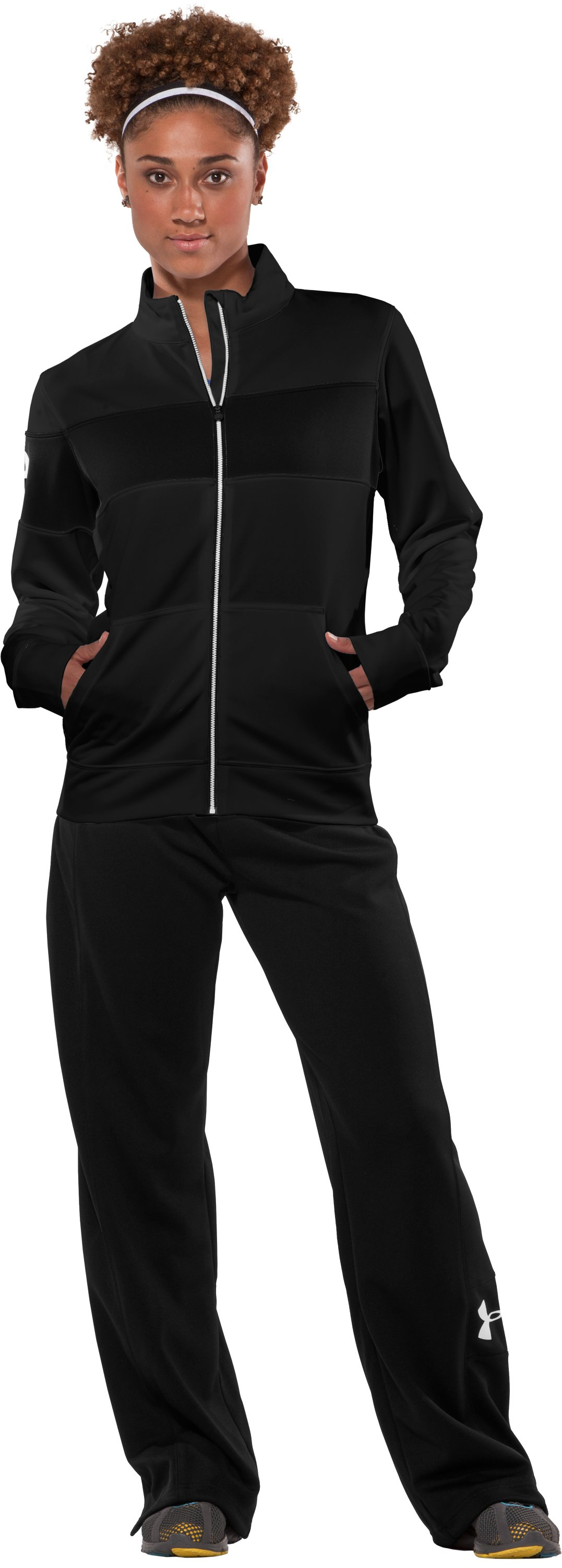 Women's UA Hero Full-Zip Warm-Up Jacket, Black , Front