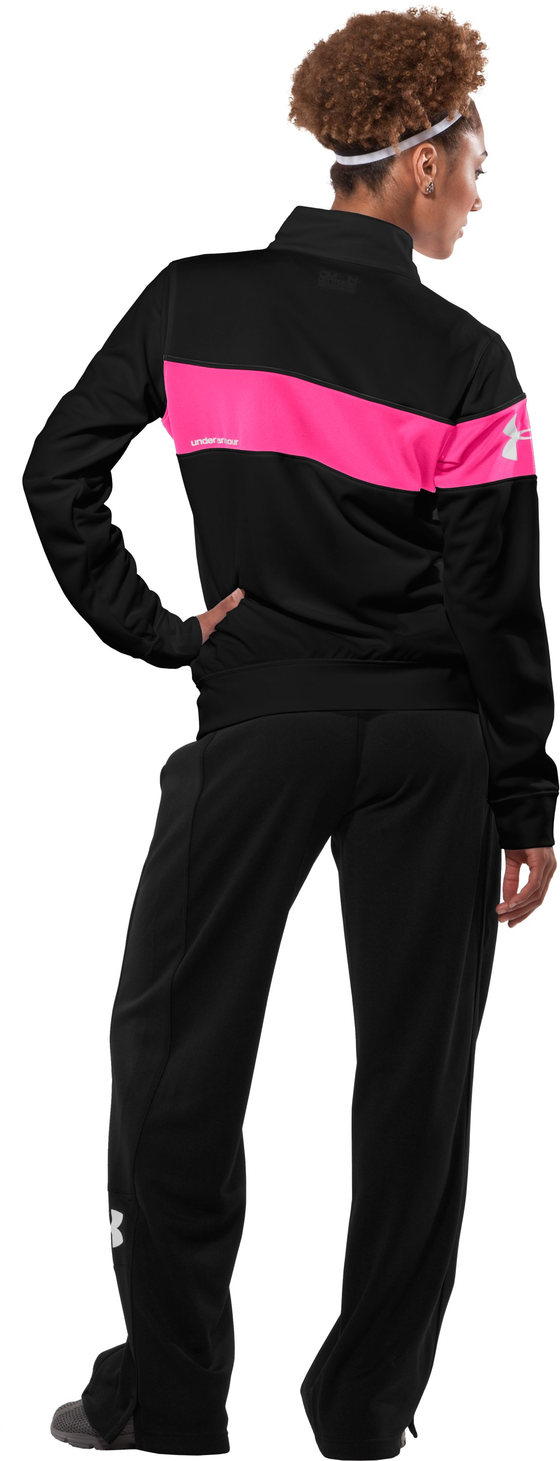 Women's UA Hero Full-Zip Warm-Up Jacket, Black , Back