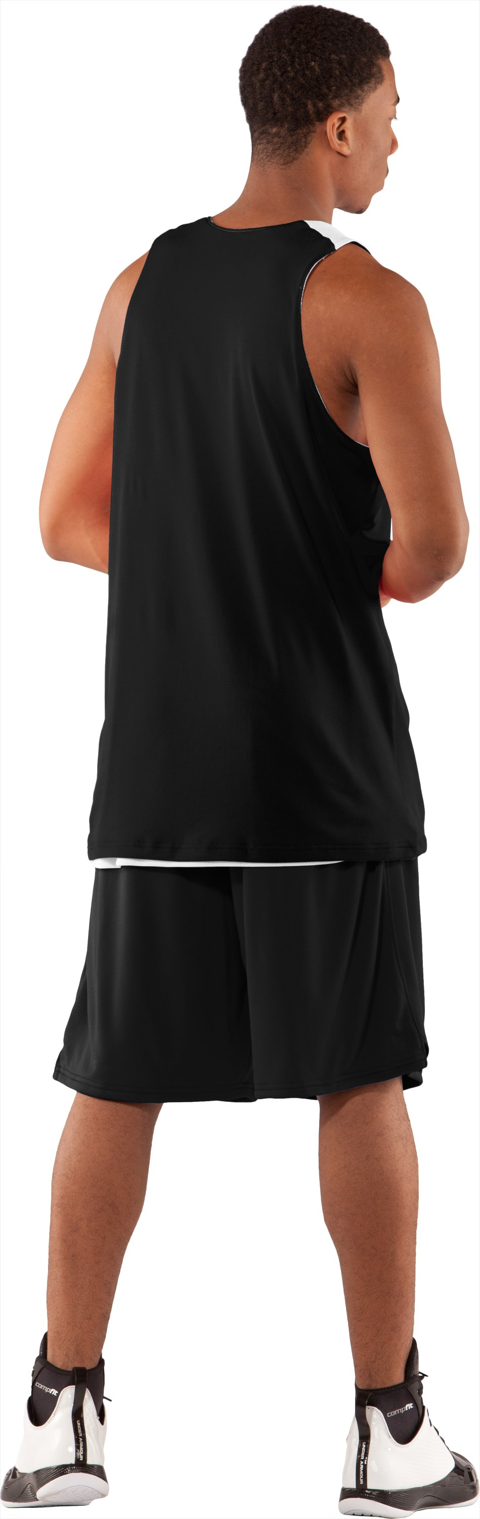 Men's Repeat Reversible Basketball Jersey, Black , Back