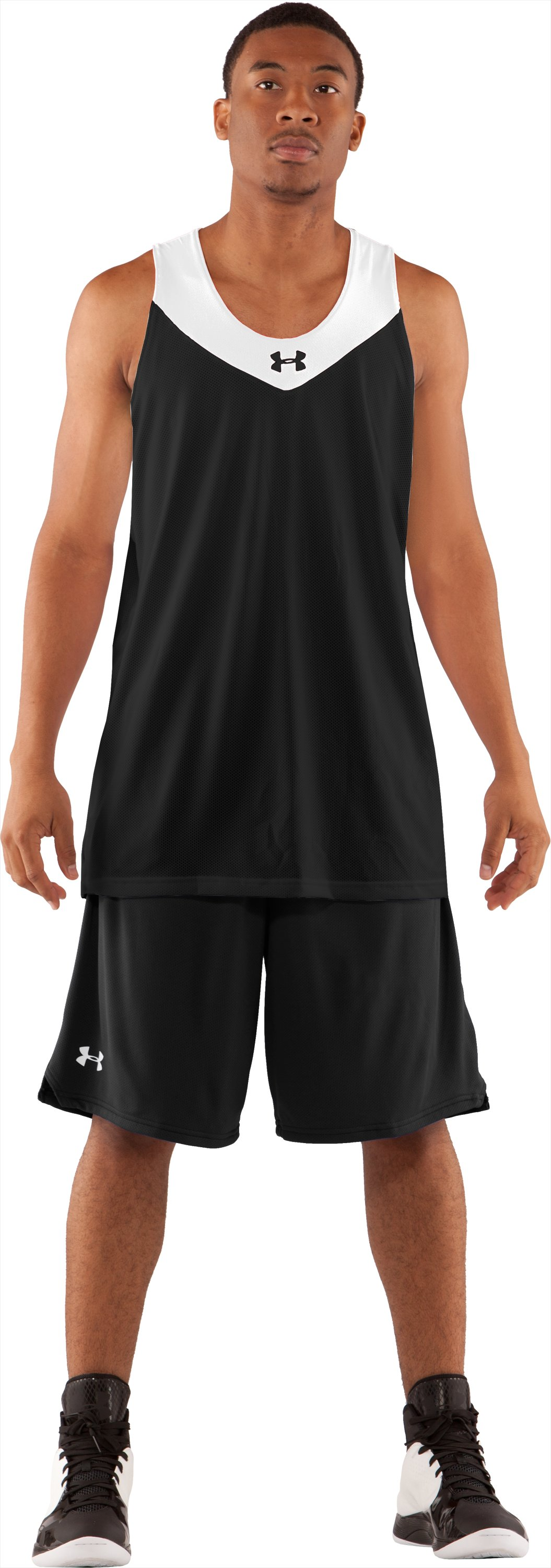 Men's Repeat Reversible Basketball Jersey, Black , Front