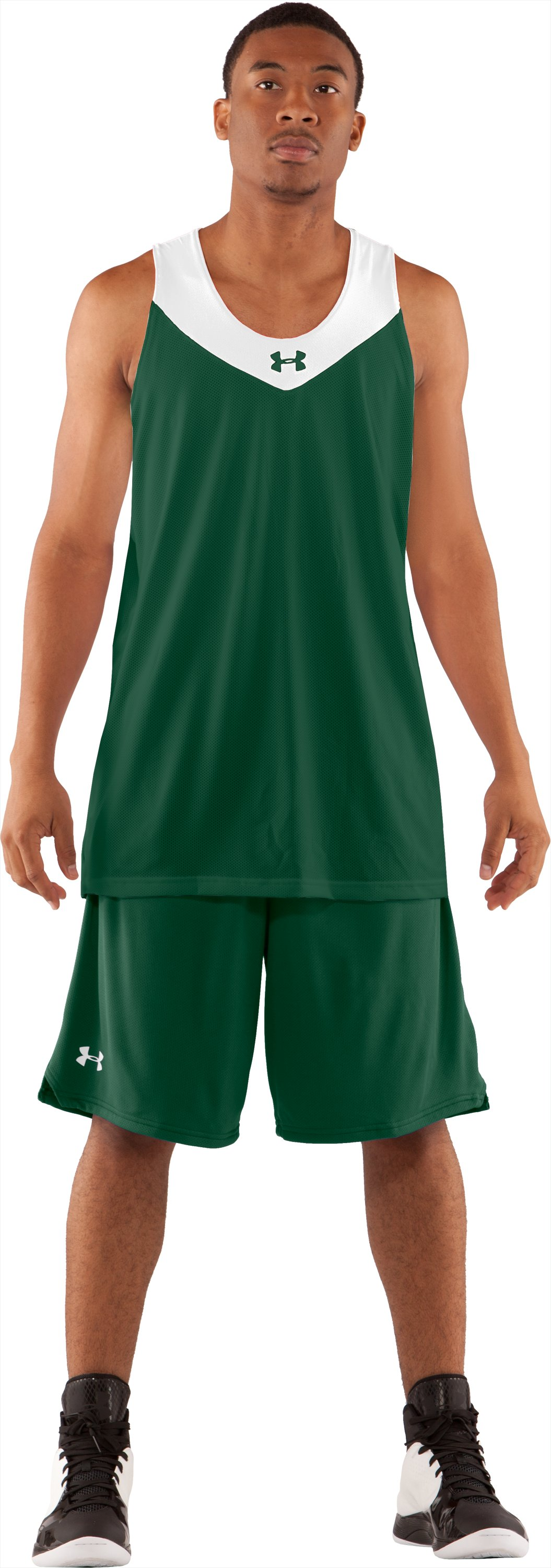 Men's Repeat Reversible Basketball Jersey, Forest Green, Front