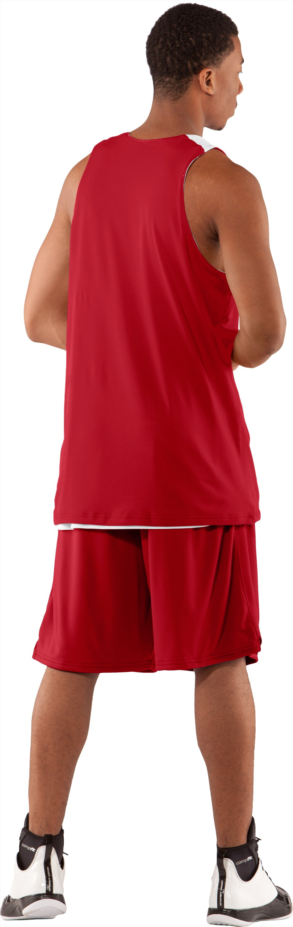 Men's Repeat Reversible Basketball Jersey, Red, Back