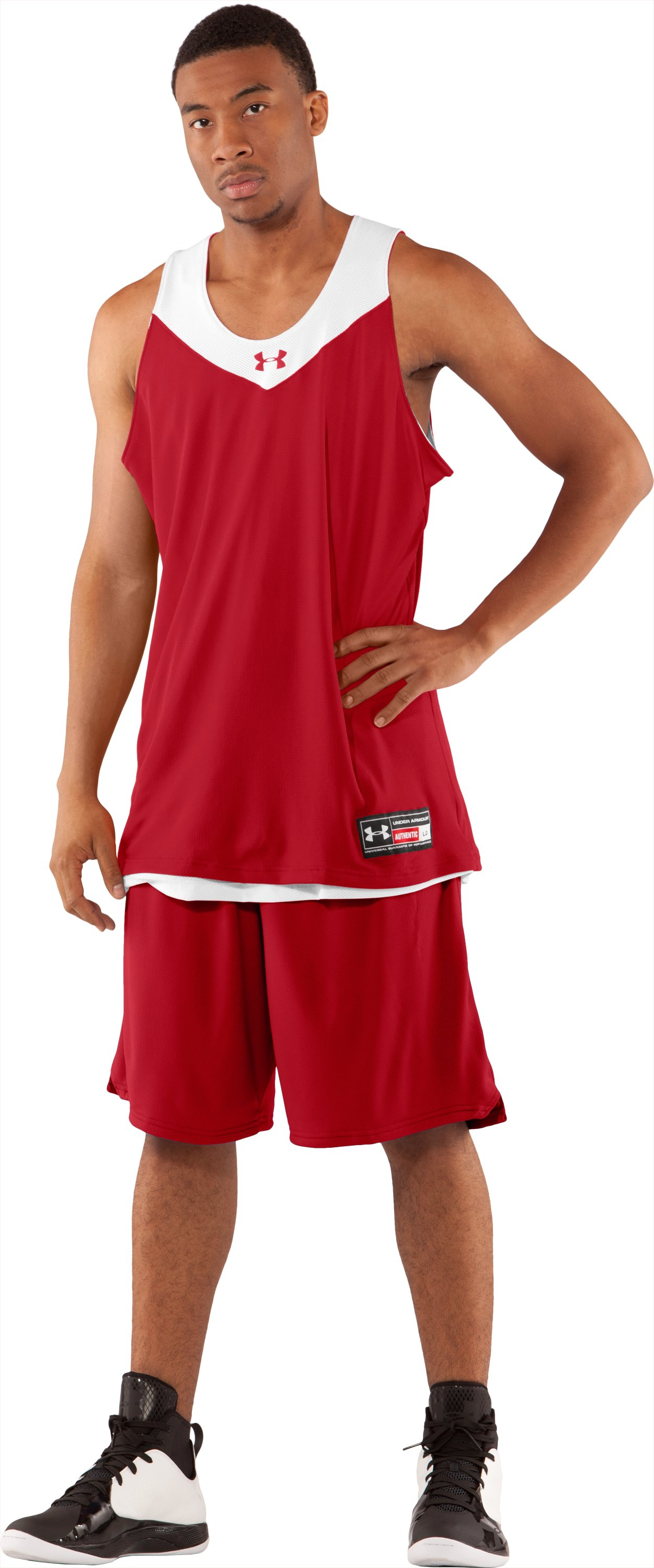 Men's Repeat Reversible Basketball Jersey, Red, Front
