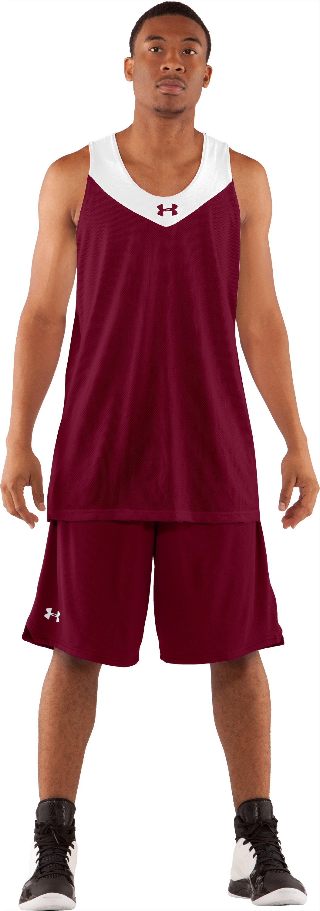 Men's Repeat Reversible Basketball Jersey, Maroon, Front