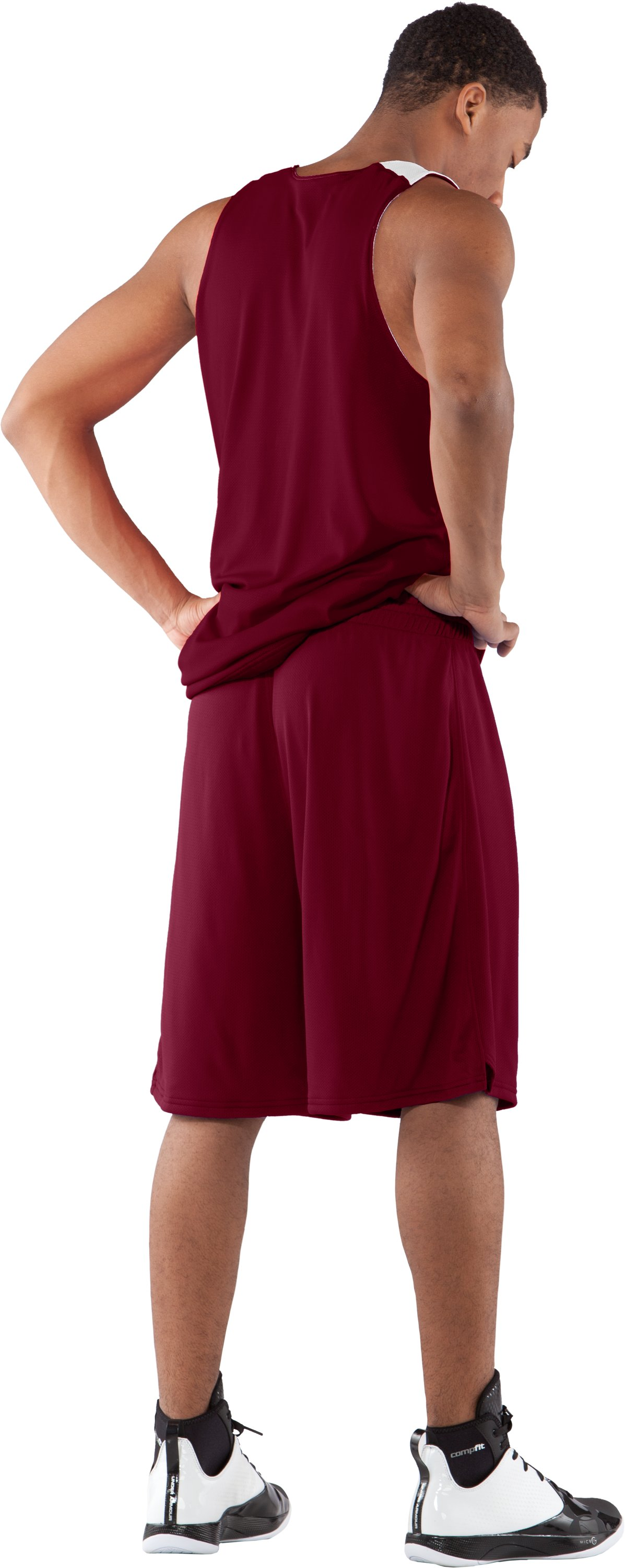 "Men's Dominate 10"" Basketball Shorts, Maroon, Back"