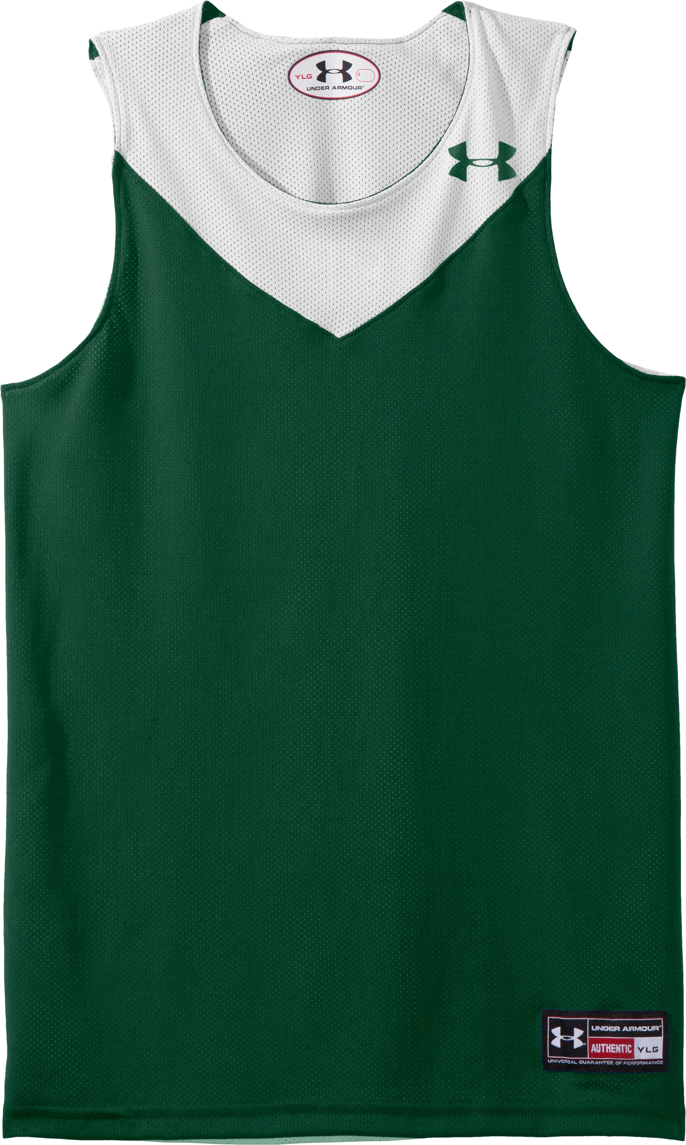 Boys' Repeat Reversible Basketball Jersey, Forest Green, Laydown