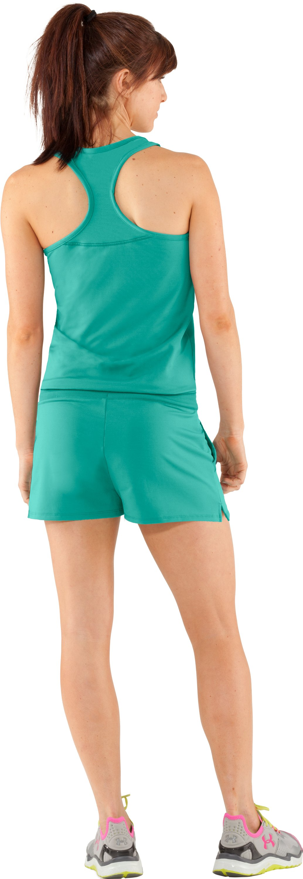 Women's UA Tennis Romper, Jade River, Back