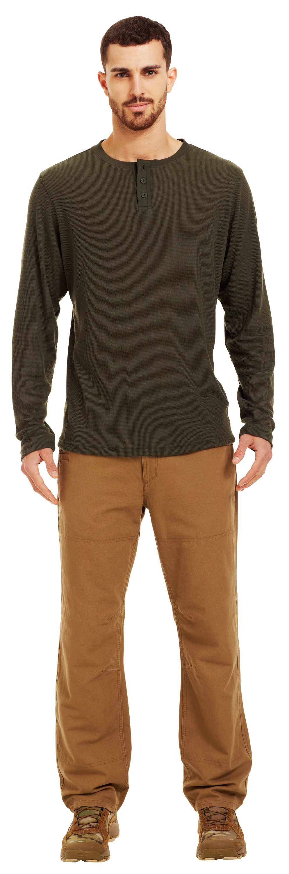 Men's Long Sleeve Waffle Henley Shirt, Rifle Green, zoomed image