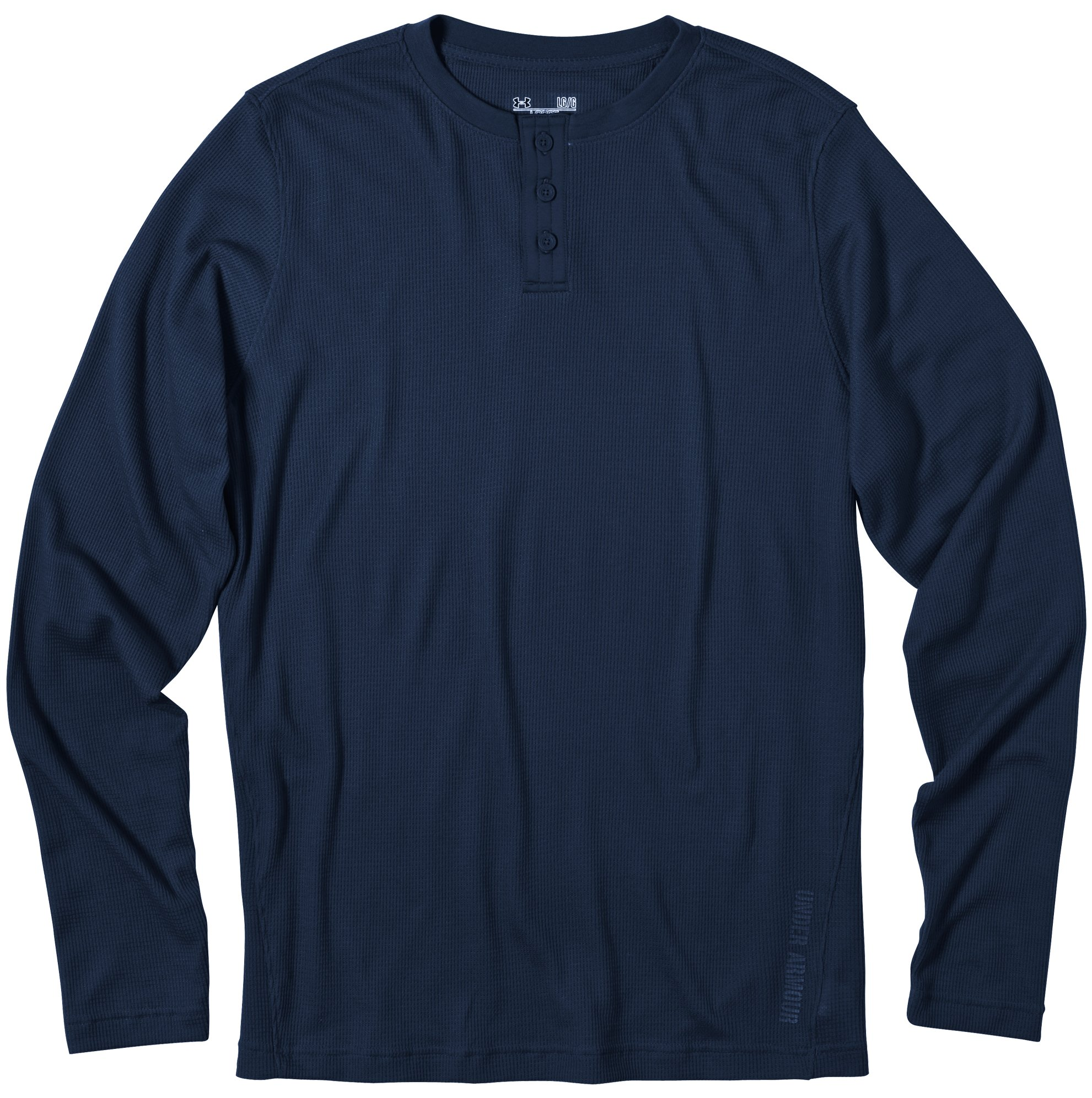 Men's Long Sleeve Waffle Henley Shirt, Cadet, Laydown