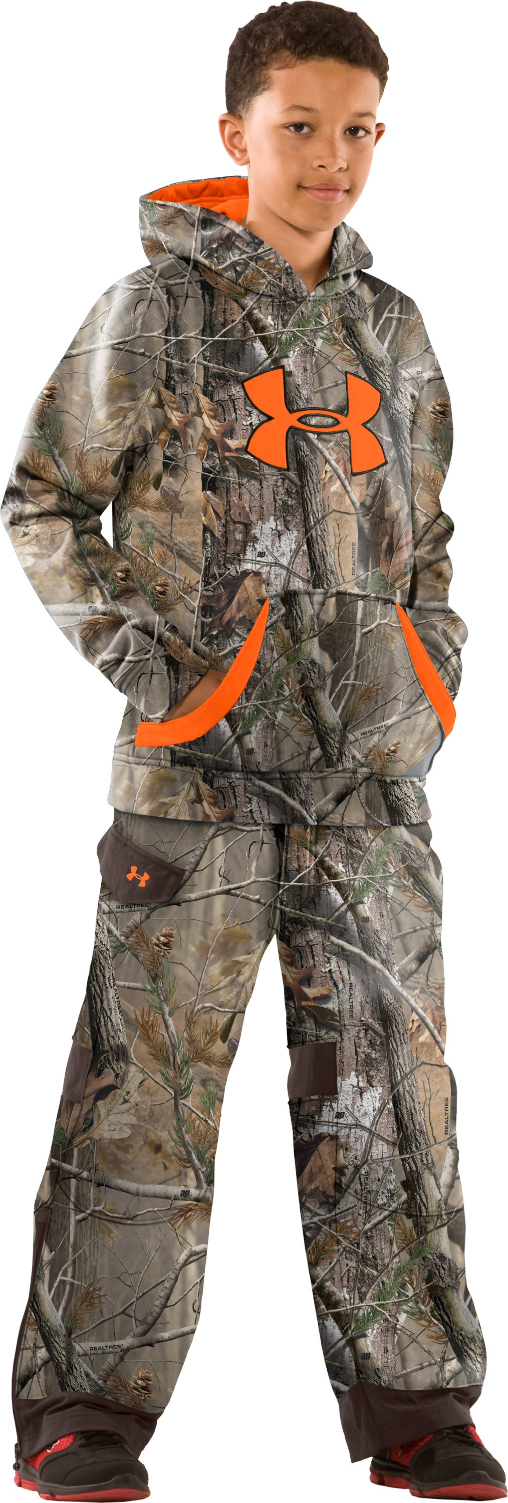 Boys' Ayton Camo Hunting Pants, Realtree AP, Front