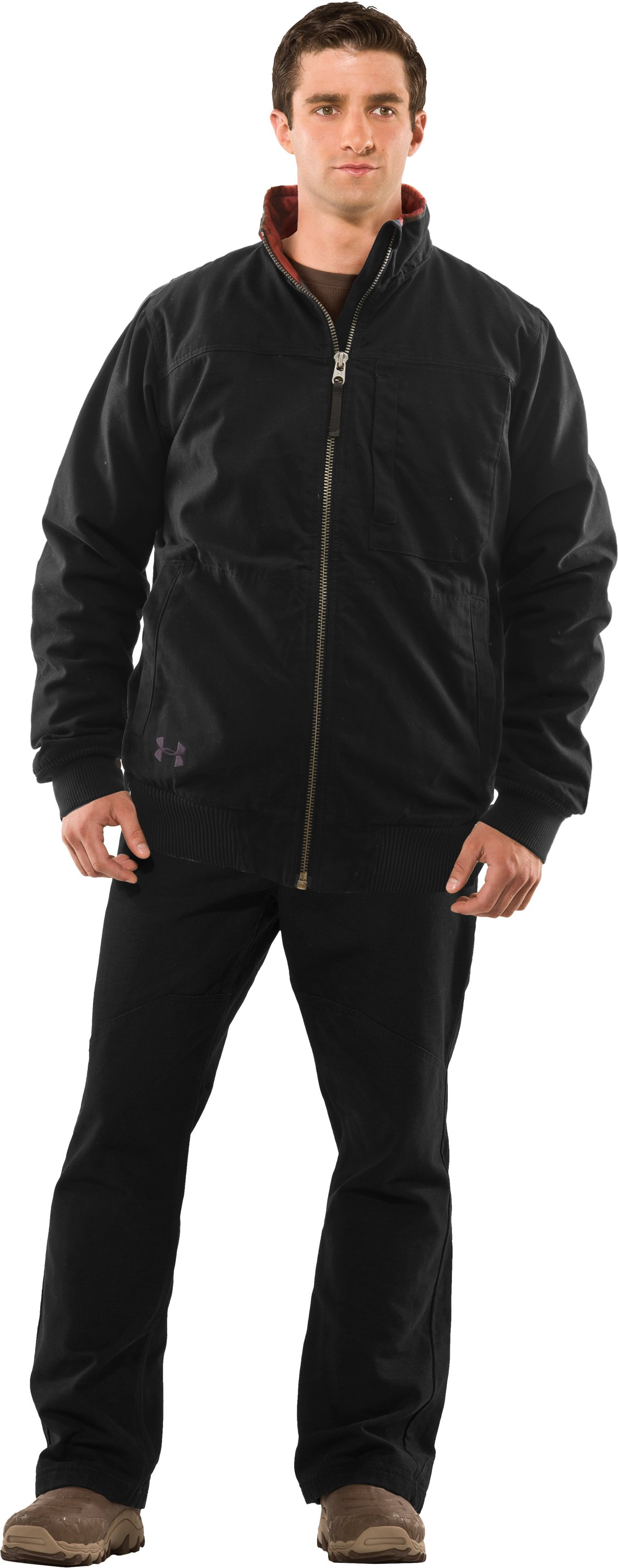 Men's Quilted Jacket, Black , Front