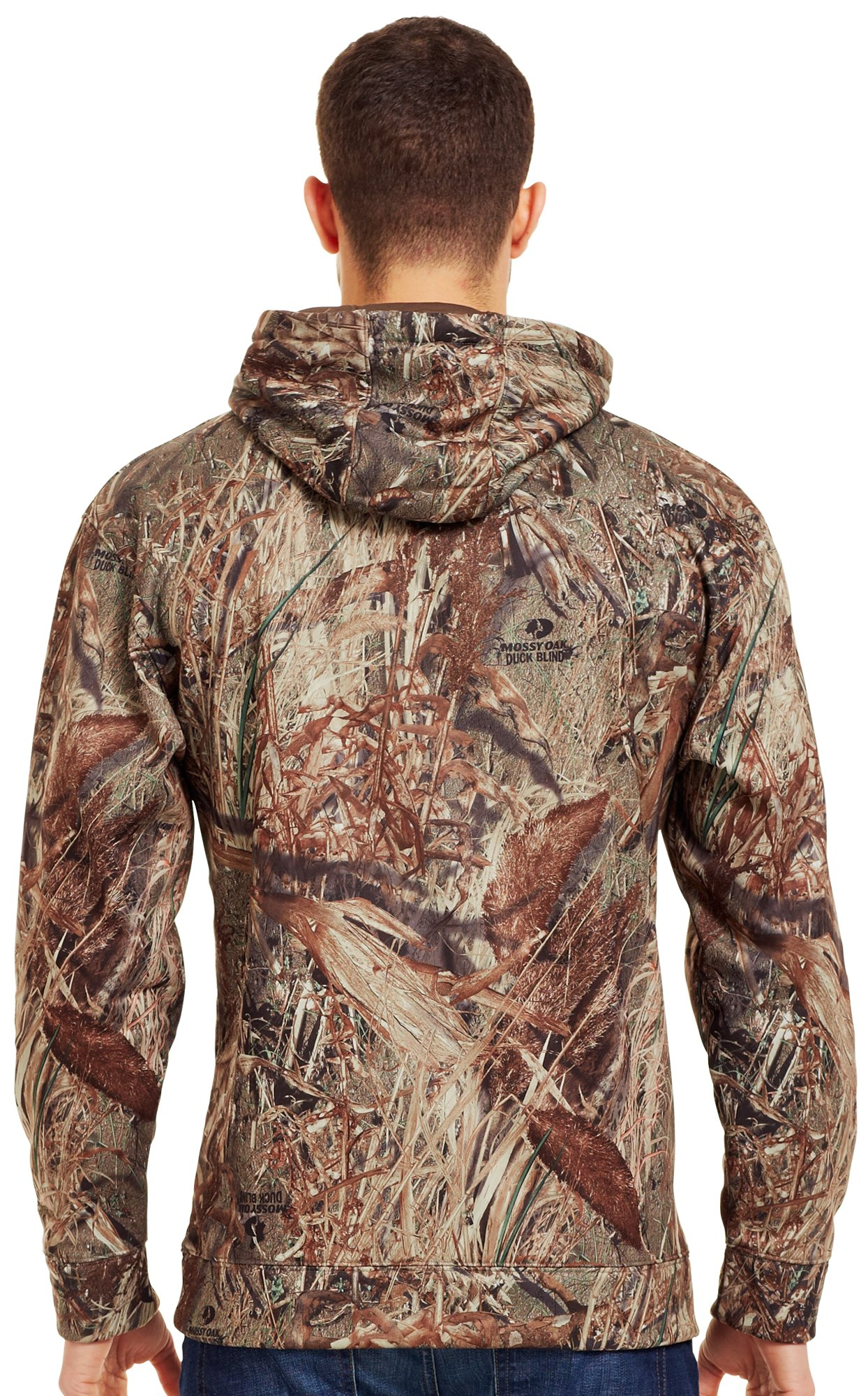 Men's Armour® Fleece Big Logo Camo Hoodie, Duck Blind, Back