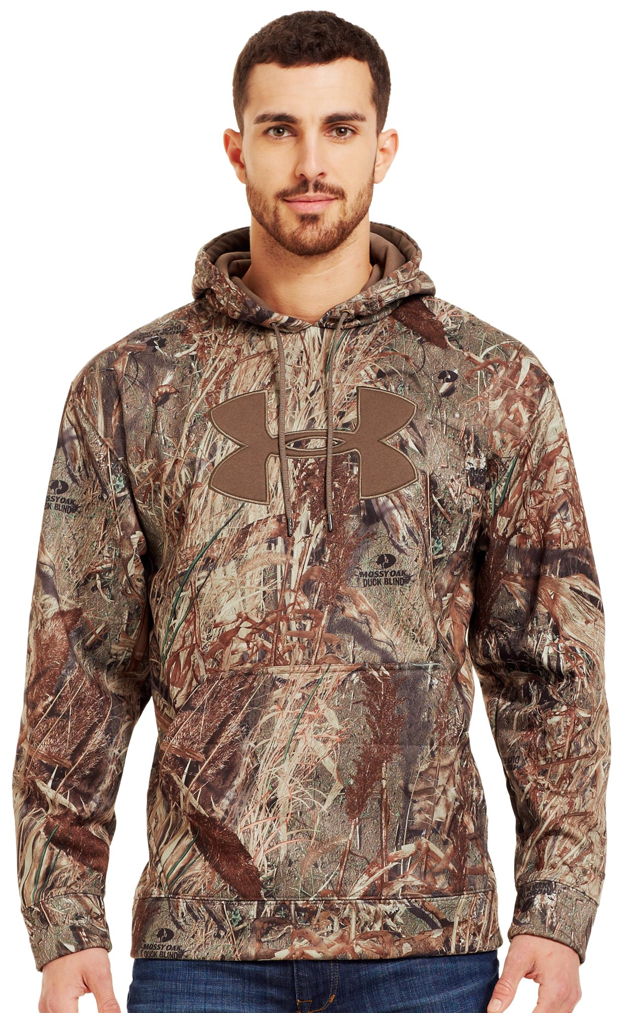 Men's Armour® Fleece Big Logo Camo Hoodie, Duck Blind, Front