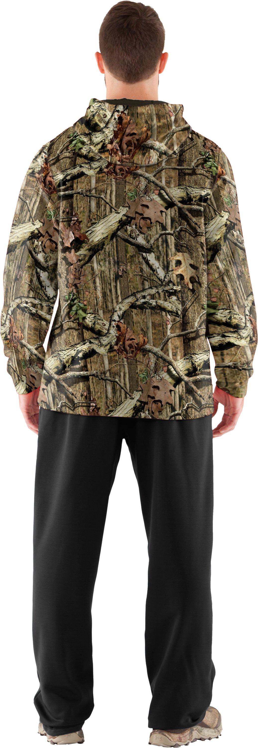 Men's Armour® Fleece Big Logo Camo Hoodie, Mossy Oak Break-Up Infinity, Back