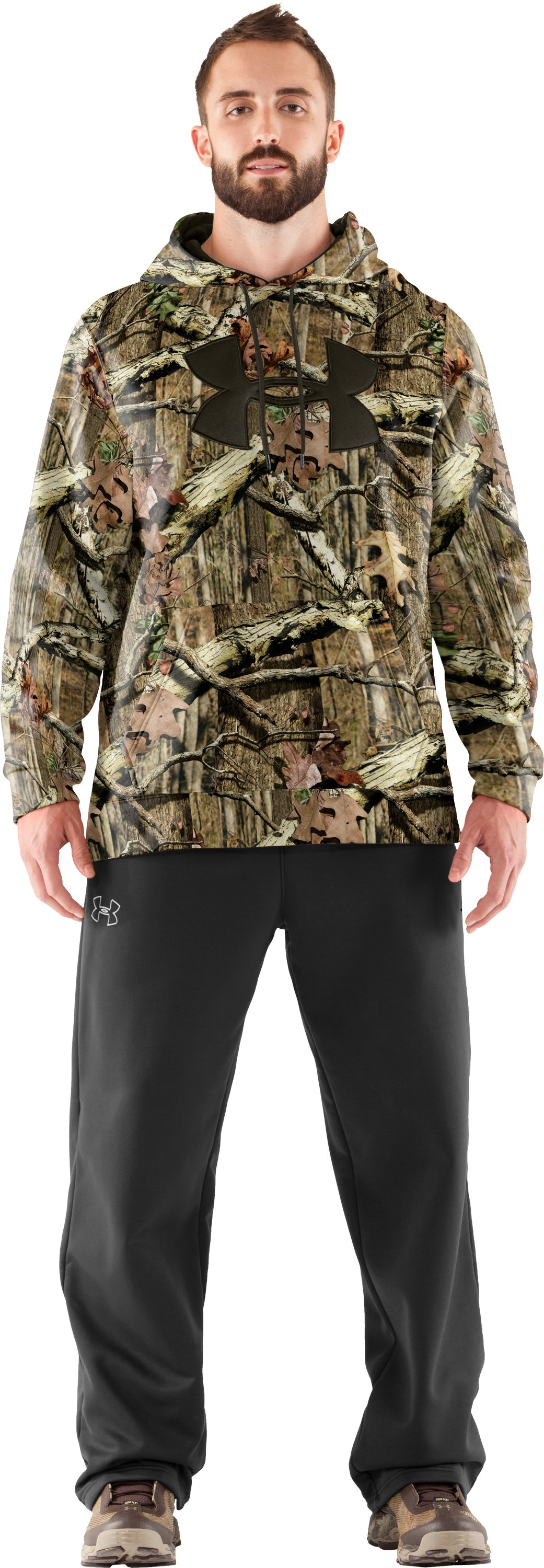 Men's Armour® Fleece Big Logo Camo Hoodie, Mossy Oak Break-Up Infinity, Front