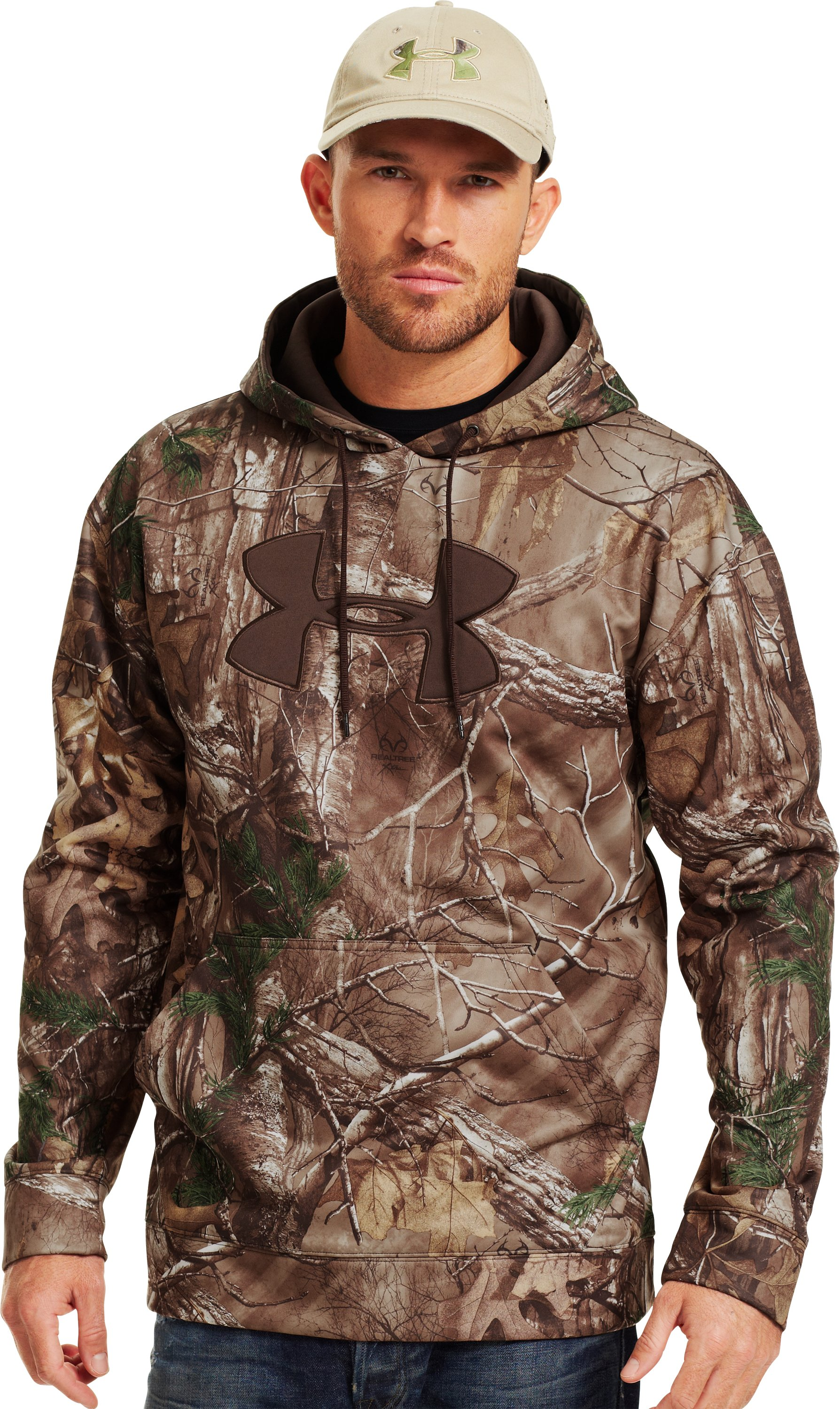 Men's Armour® Fleece Big Logo Camo Hoodie, REALTREE AP-XTRA
