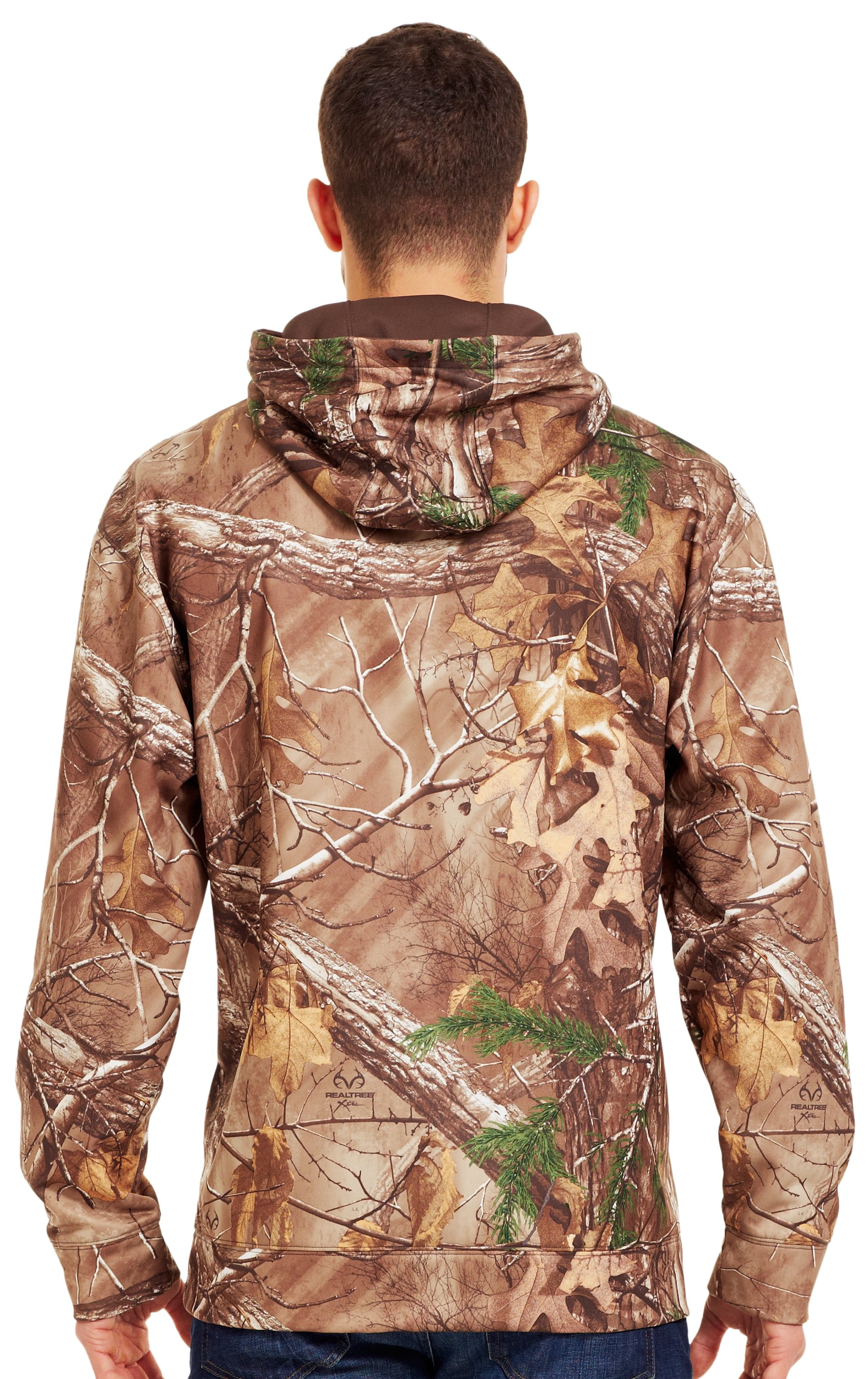 Men's Armour® Fleece Big Logo Camo Hoodie, REALTREE AP-XTRA, Back