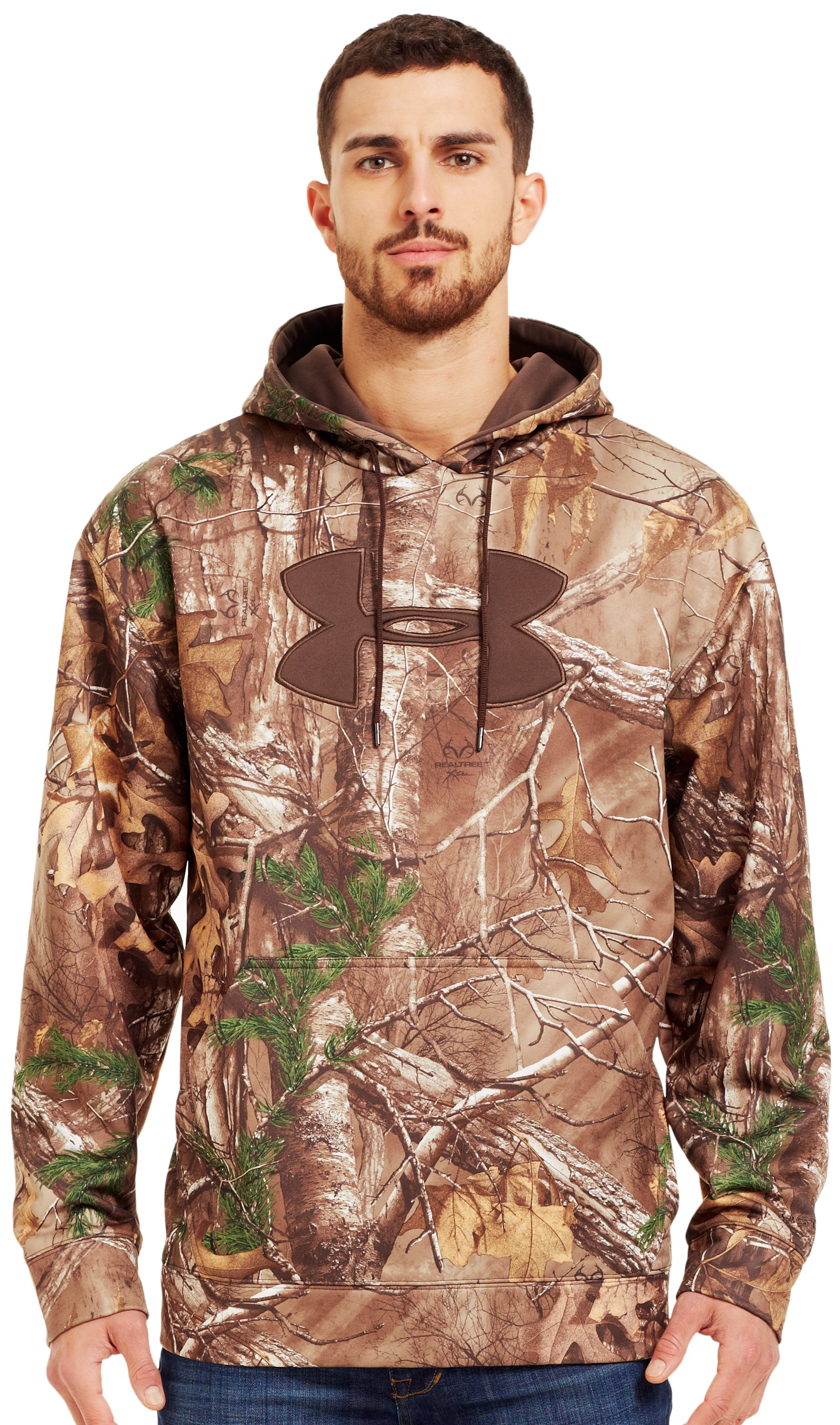 Men's Armour® Fleece Big Logo Camo Hoodie, REALTREE AP-XTRA, Front