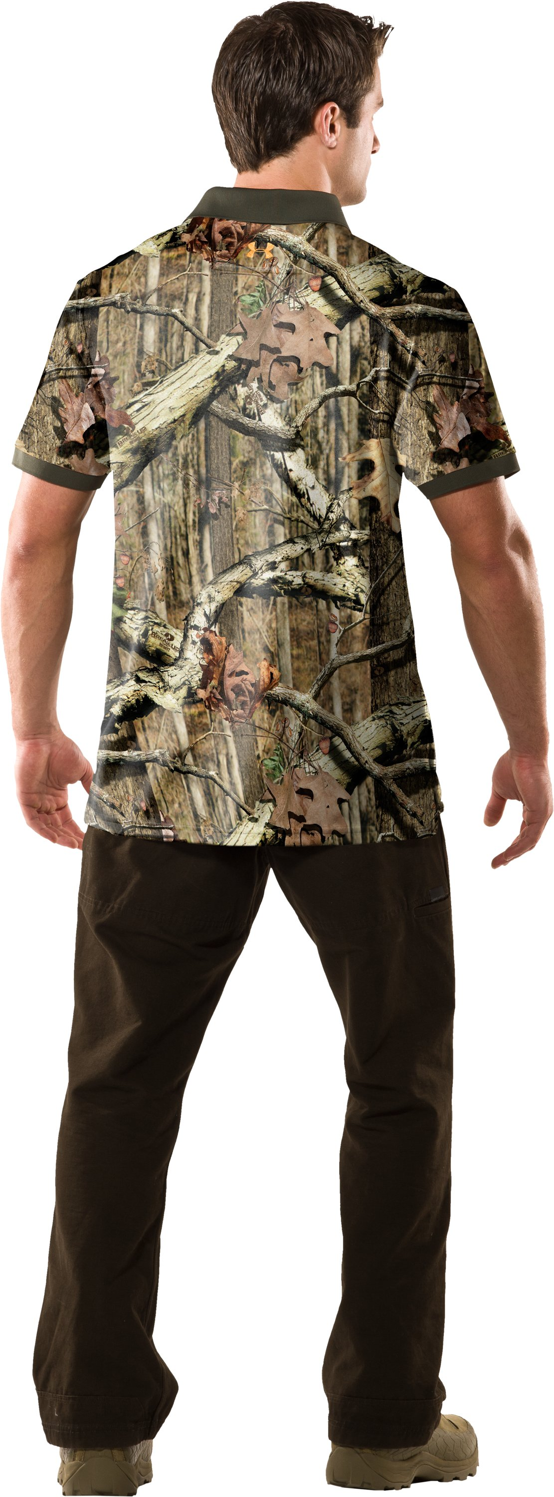 Men's UA Hunt Camouflage Polo, Mossy Oak Break-Up Infinity, Back