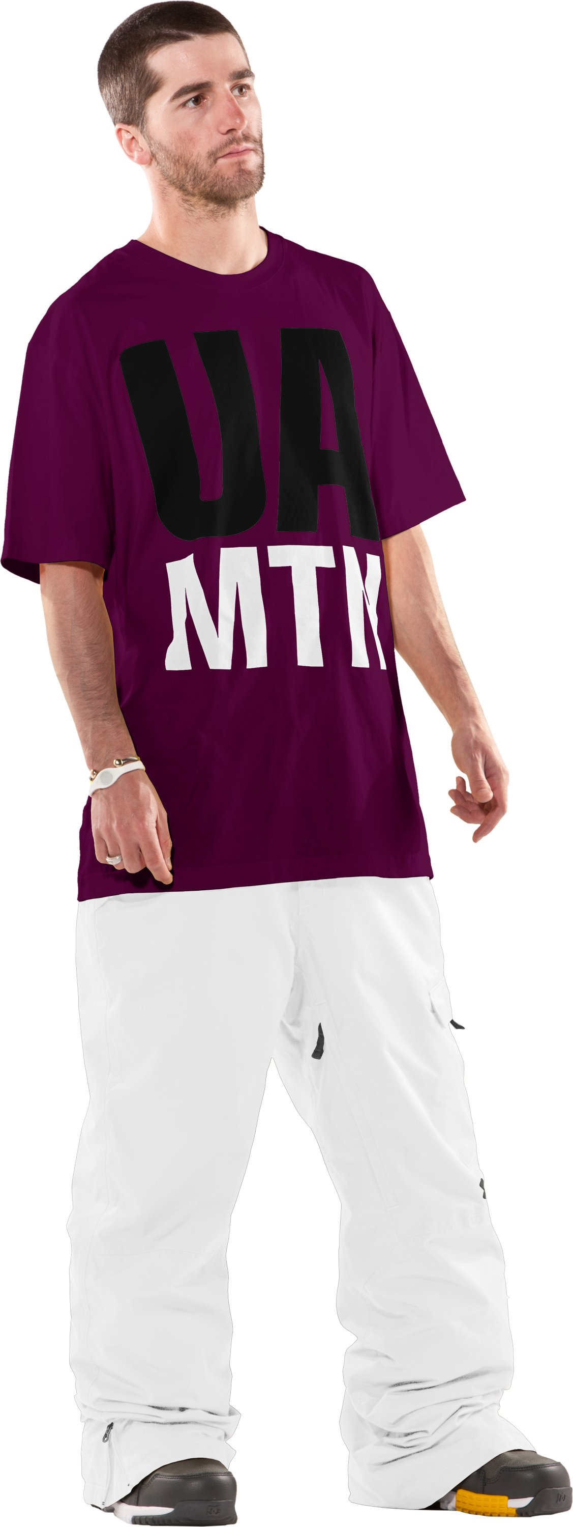 Men's UA Mountain Charged Cotton® T-Shirt, Aubergine, Front