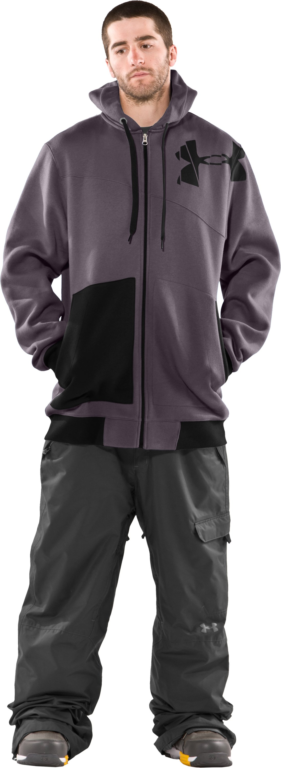 Men's Full Zip Hoodie, Charcoal, Front