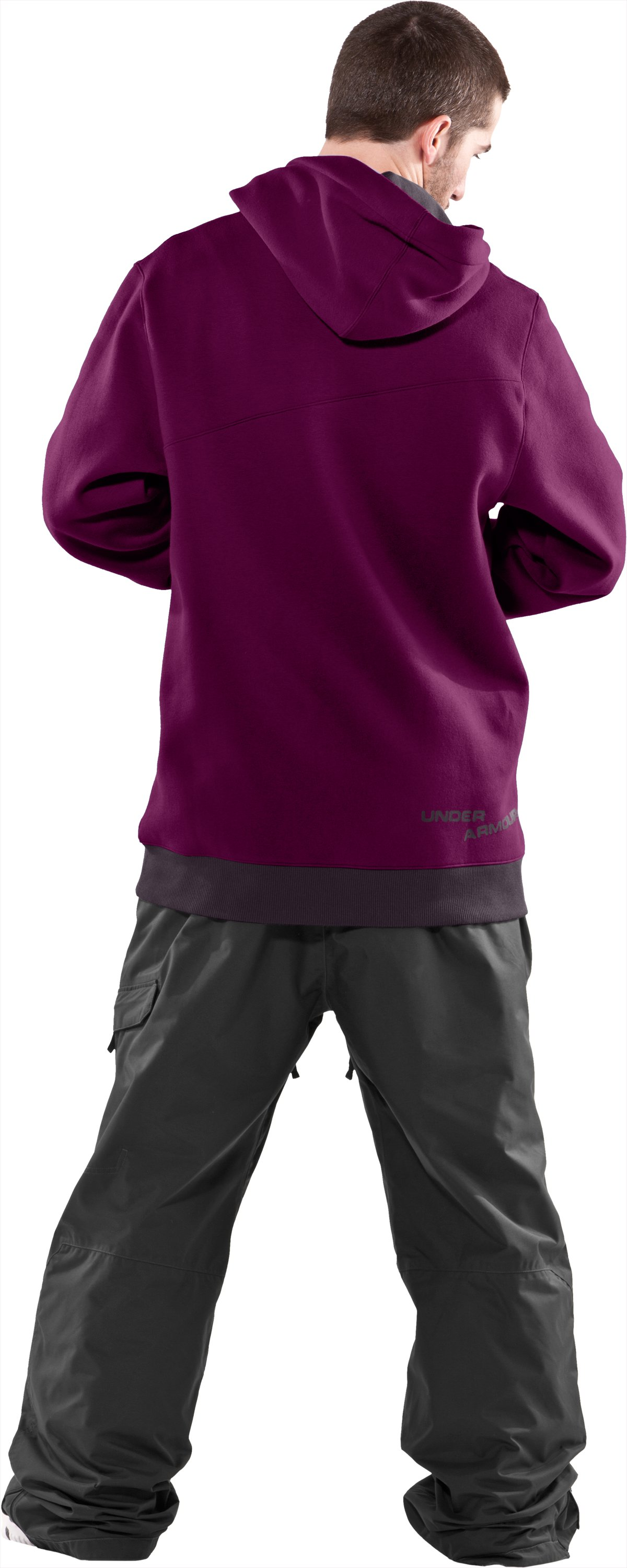 Men's Full Zip Hoodie, Aubergine, Back