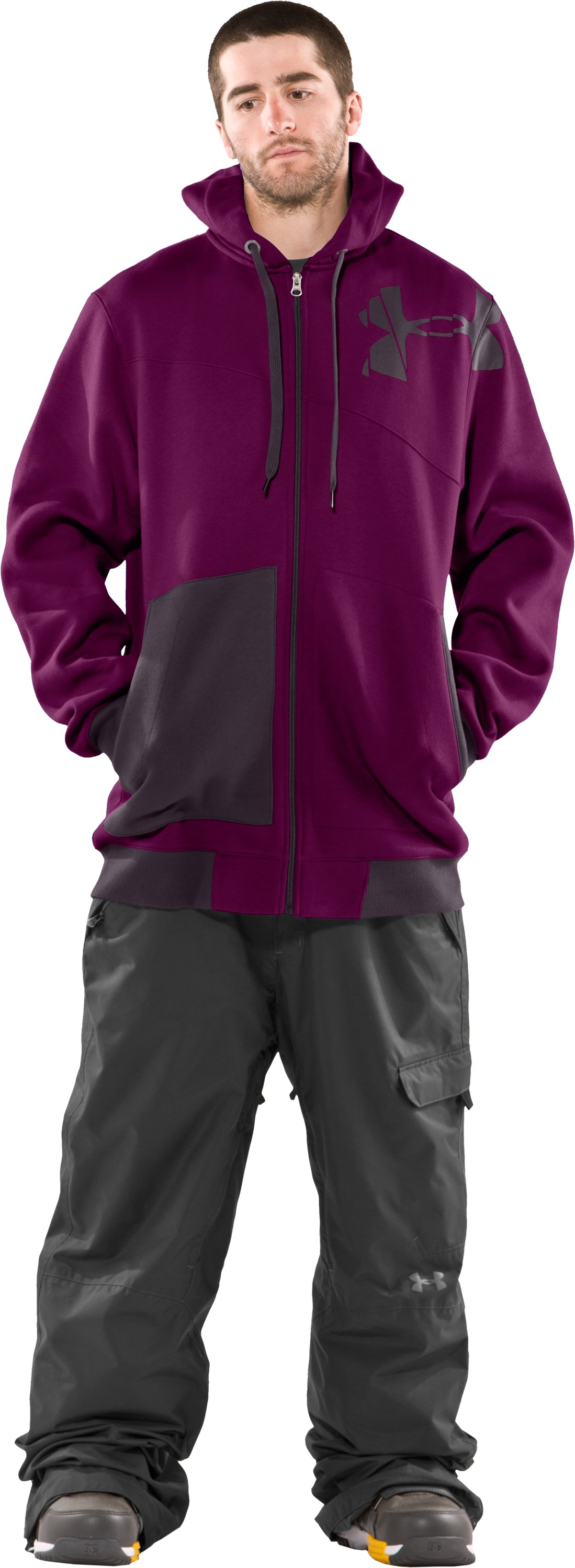 Men's Full Zip Hoodie, Aubergine, zoomed image