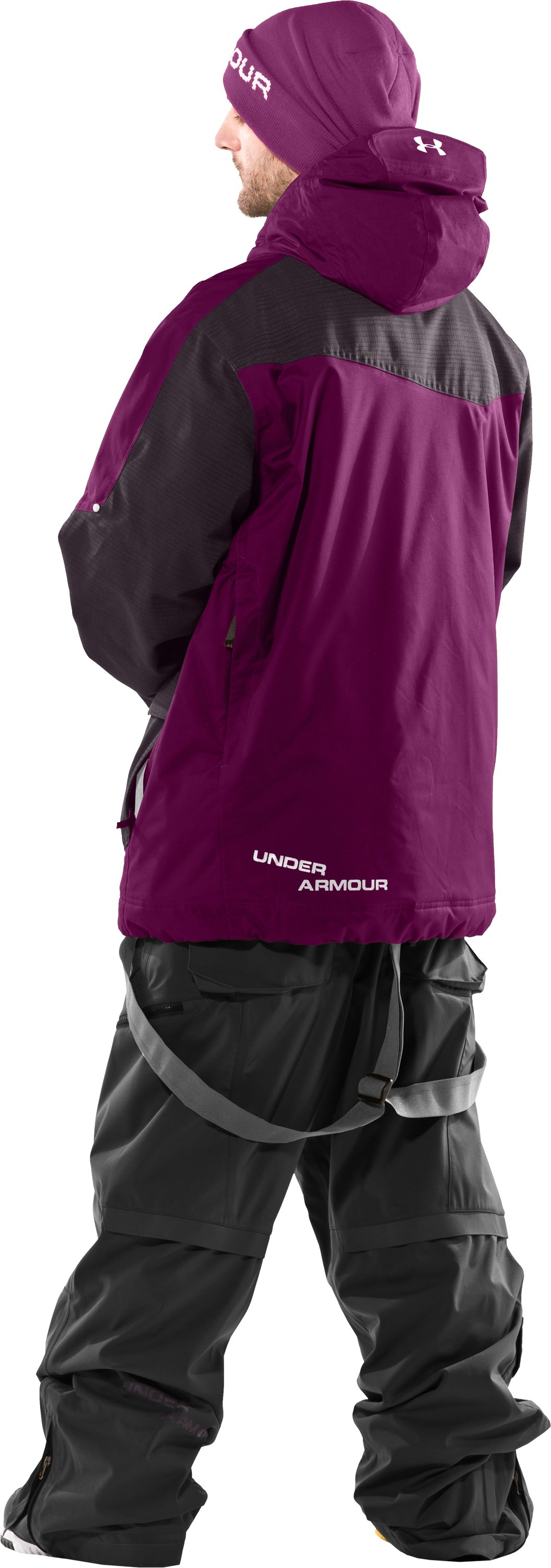 Men's UA Solid Insulated Jacket, Aubergine, Back