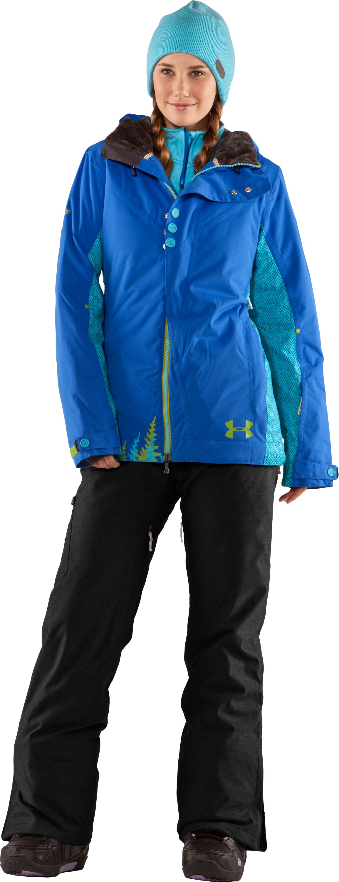 Women's UA Snowmageddon Ski Jacket, Moon Shadow, Front