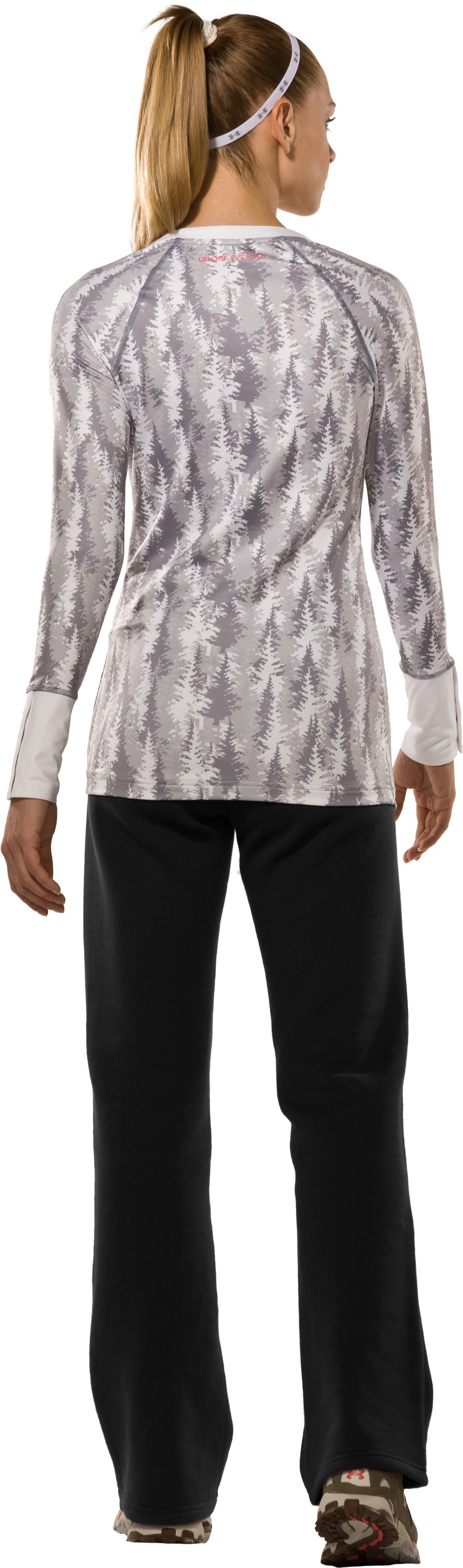 Women's EVO ColdGear® Tree Print Henley Shirt, White, Back