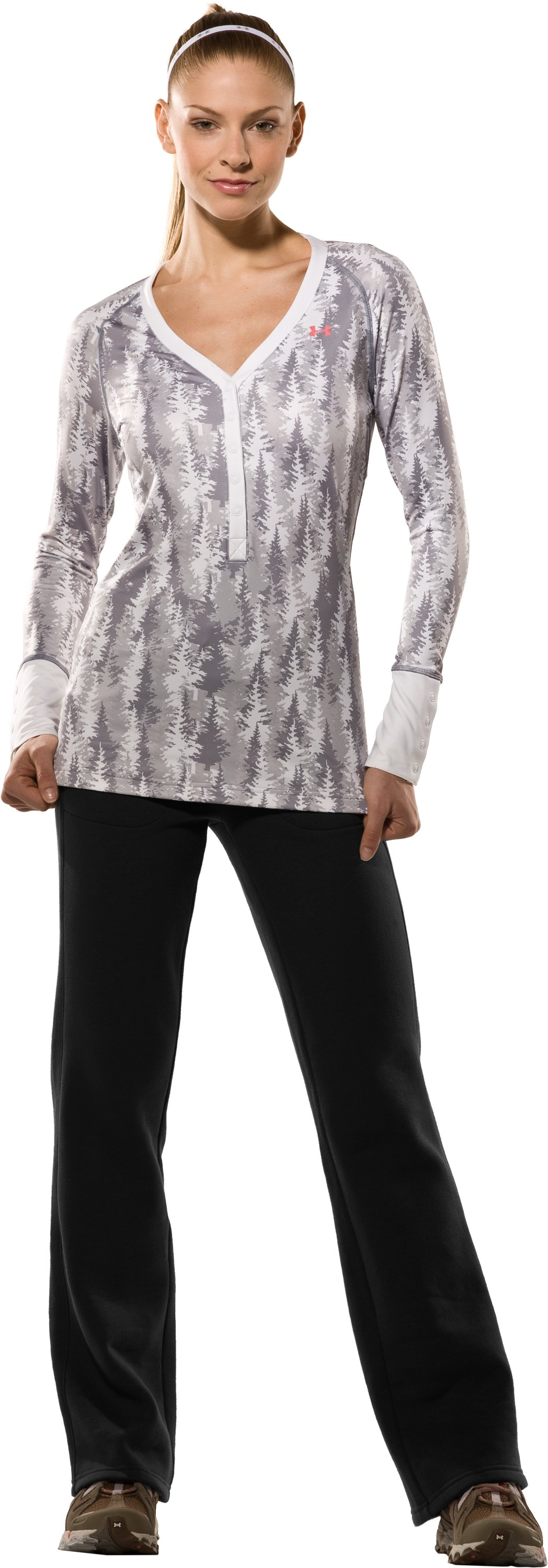 Women's EVO ColdGear® Tree Print Henley Shirt, White, Front