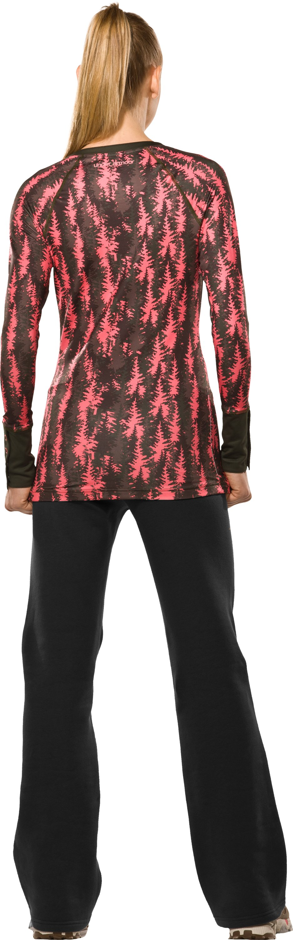 Women's EVO ColdGear® Tree Print Henley Shirt, Perfection, Back