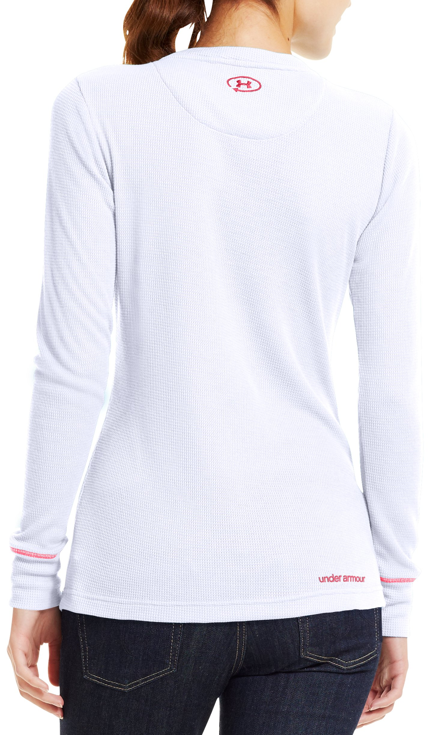 Women's Waffle Tackle Twill Long Sleeve Crew, White, Back
