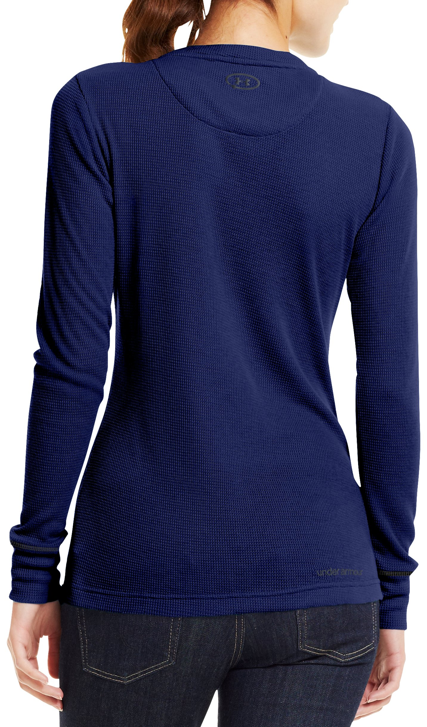 Women's Waffle Tackle Twill Long Sleeve Crew, REGAL, Back