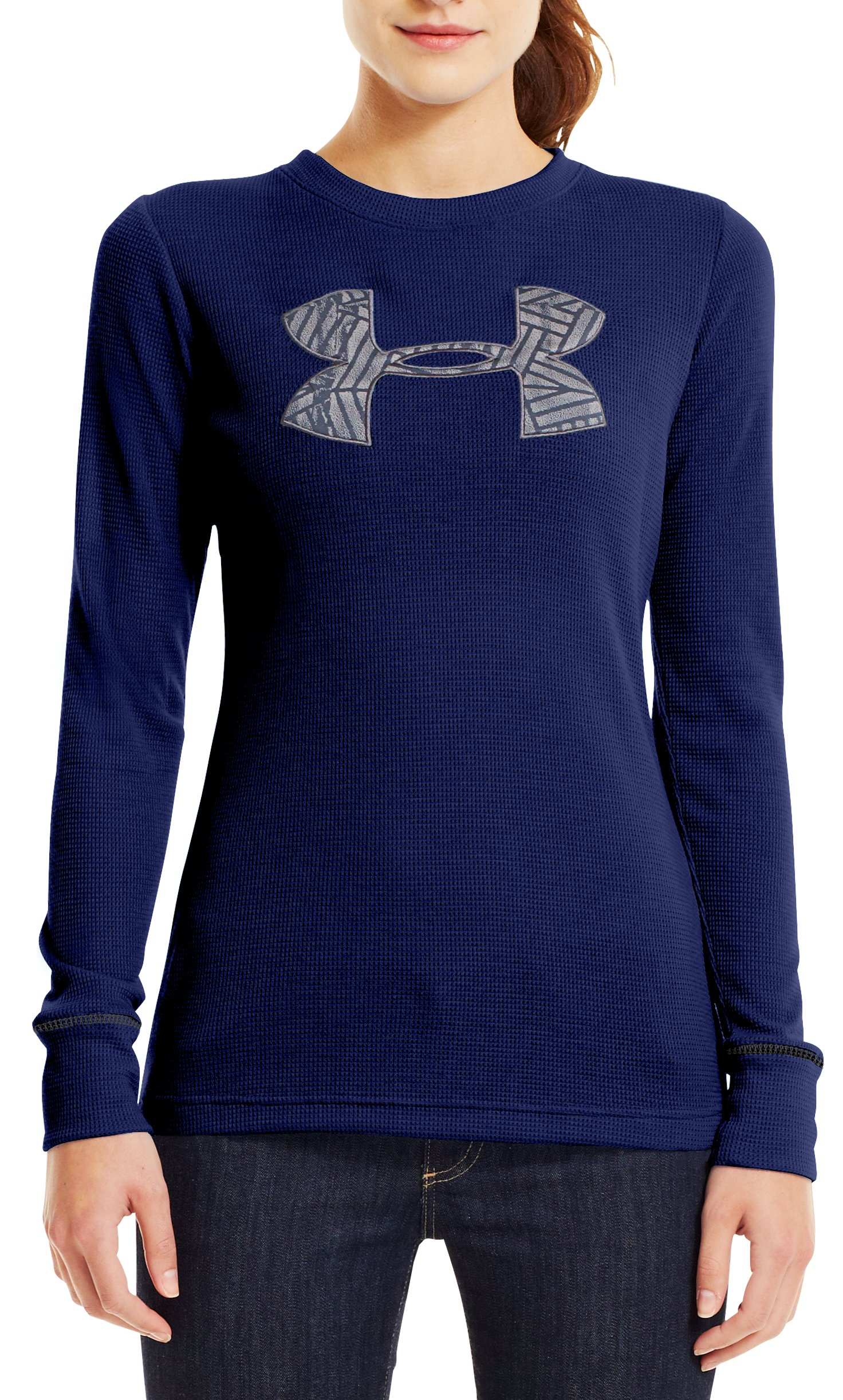 Women's Waffle Tackle Twill Long Sleeve Crew, REGAL, Front