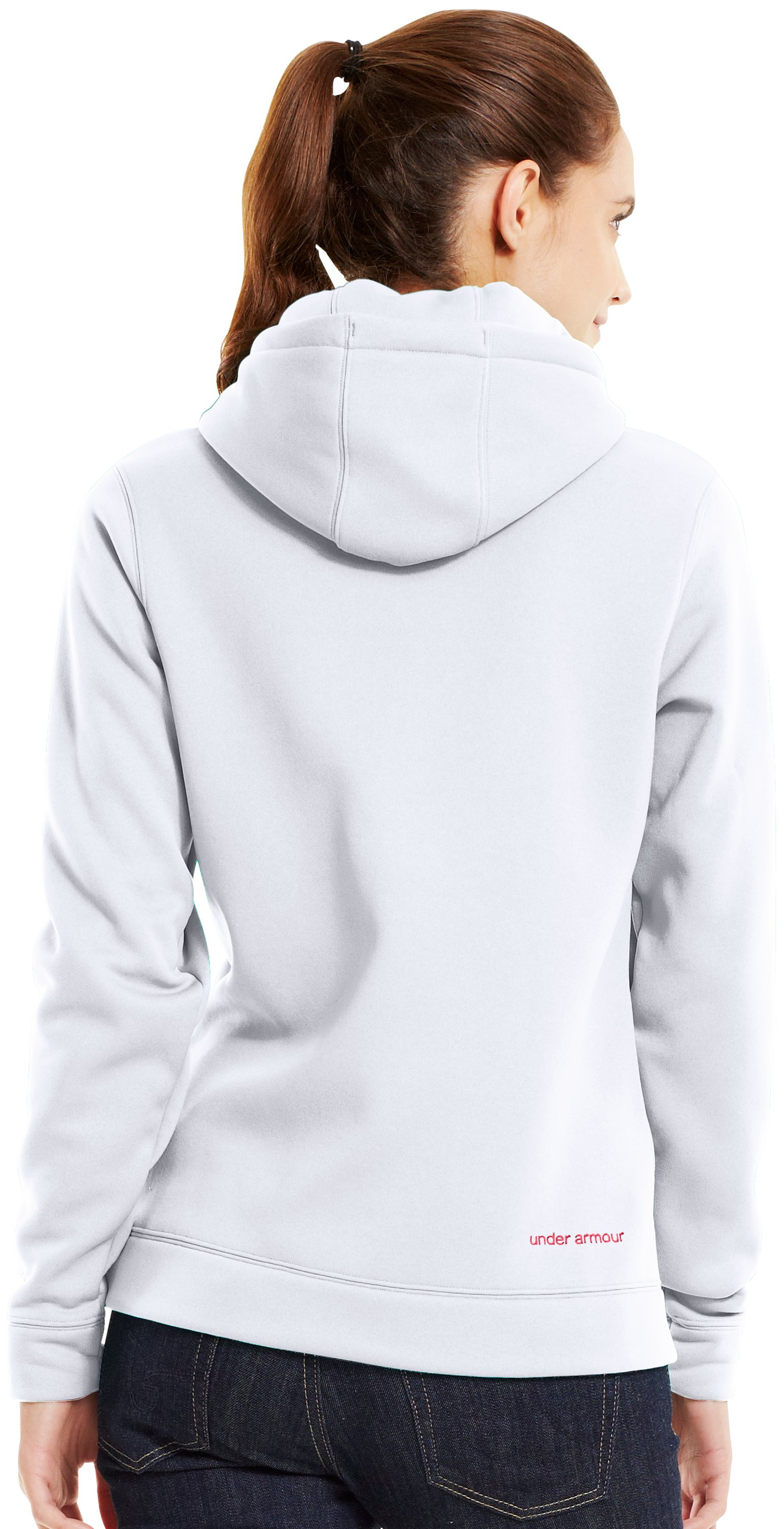 Women's UA Storm Tackle Twill Hoodie, White, Back