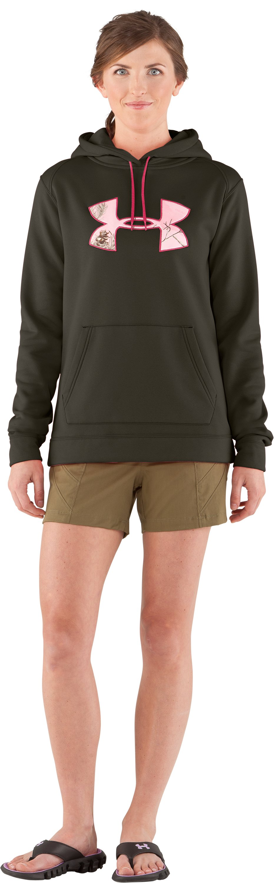 Women's UA Storm Tackle Twill Hoodie, Rifle Green, Front