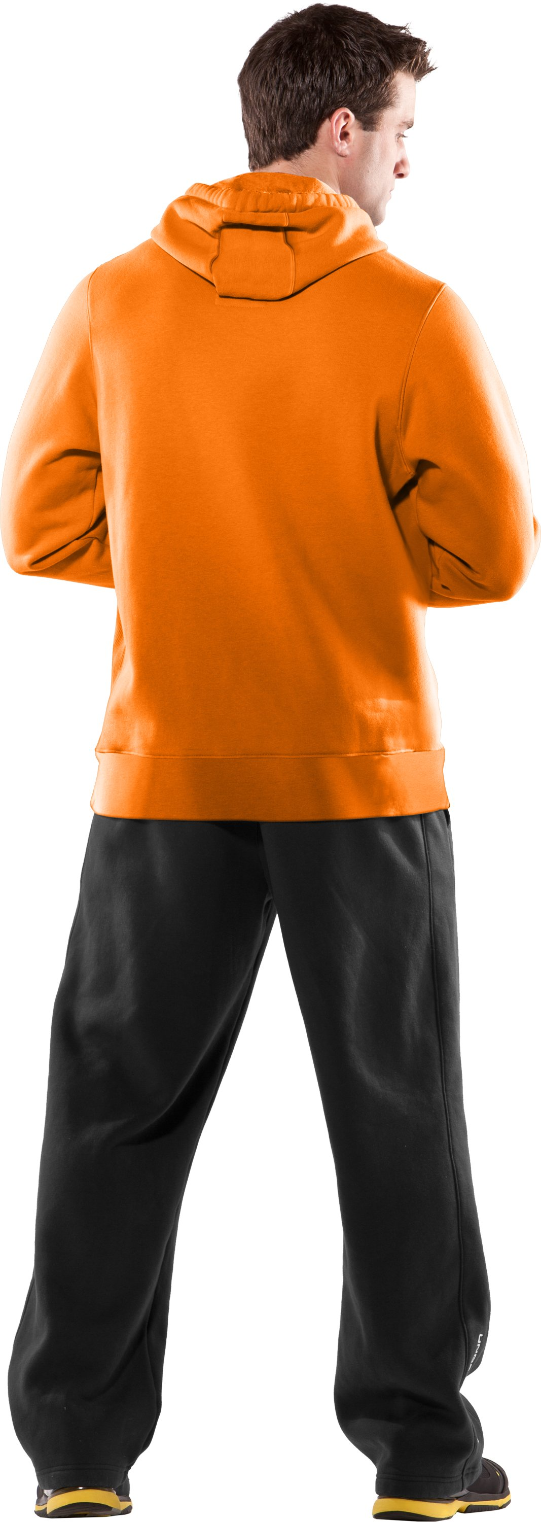 Men's Armour® Fleece Blaze Hoodie, Blaze Orange, Back