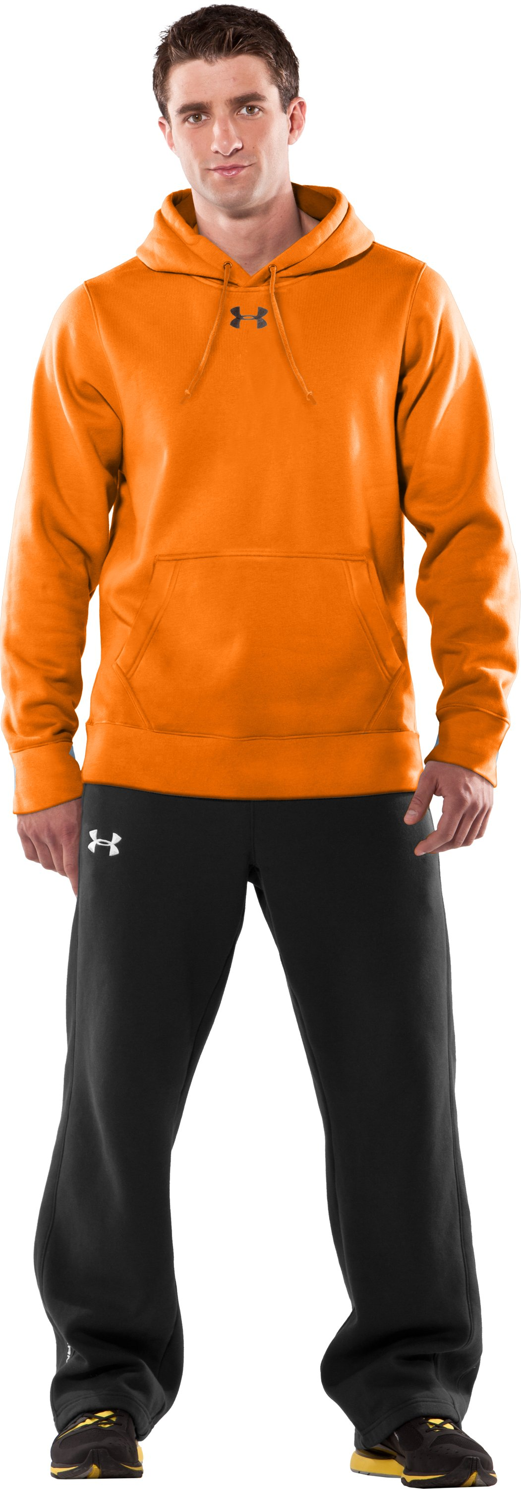 Men's Armour® Fleece Blaze Hoodie, Blaze Orange, Front