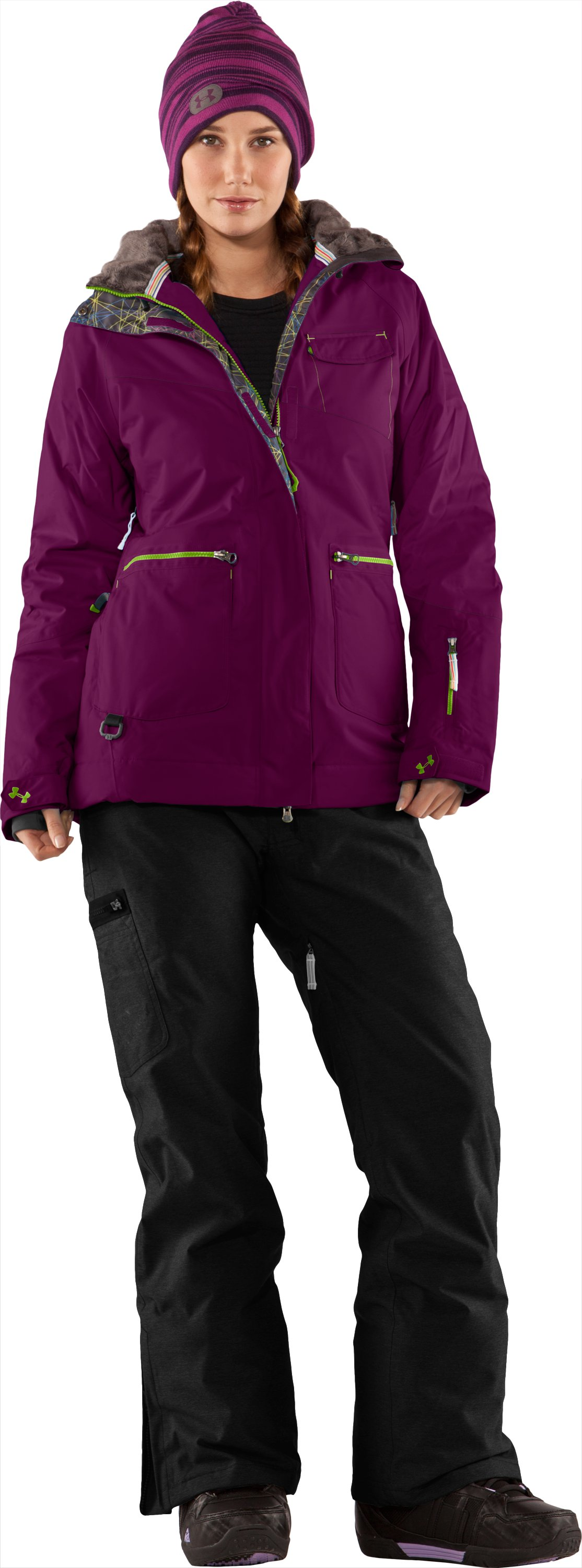 Women's Blar Waterproof Ski Jacket, Aubergine, Front