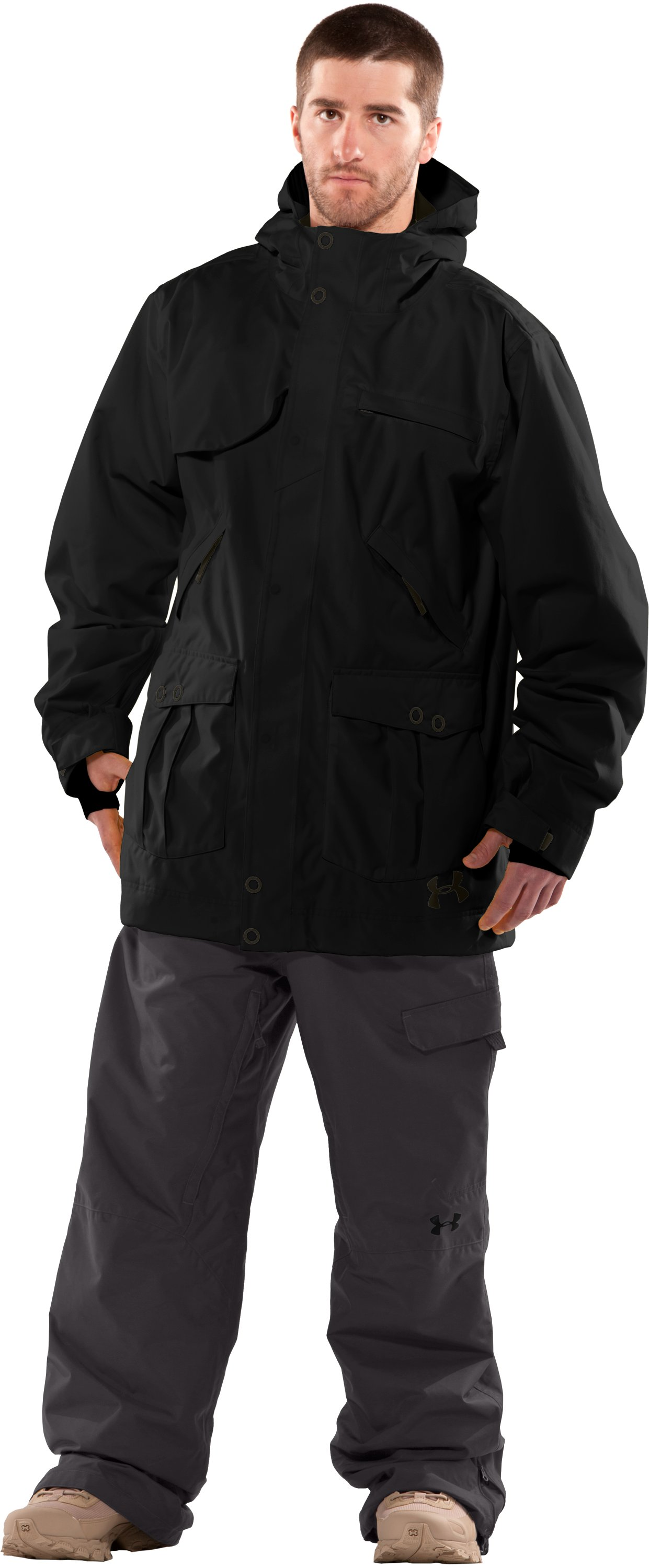 Men's Utility Shell Jacket, Black , Front