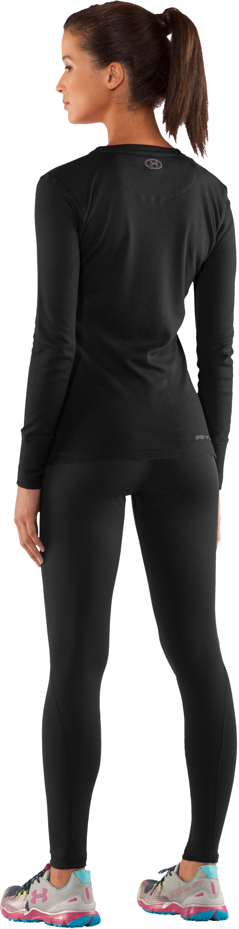 Women's Waffle Long Sleeve Crew Neck, Black , Back