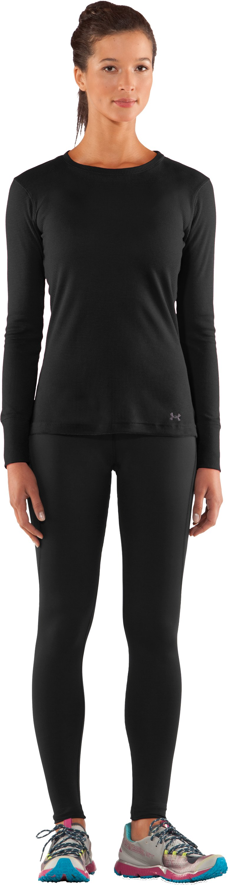 Women's Waffle Long Sleeve Crew Neck, Black , Front