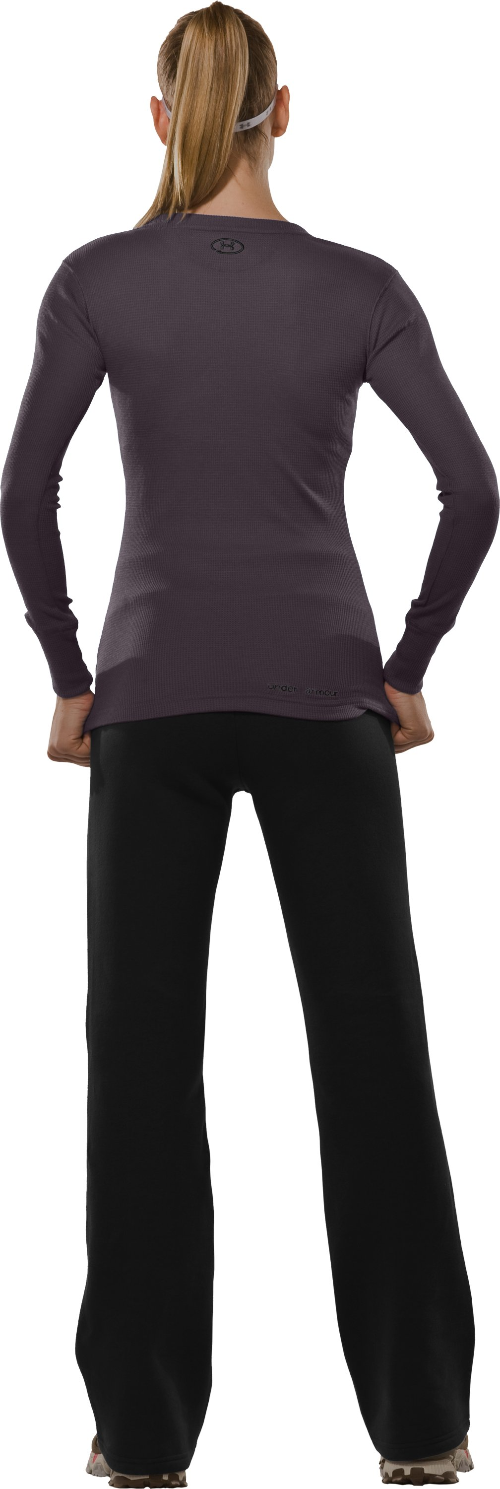 Women's Waffle Long Sleeve Crew Neck, Charcoal, Back