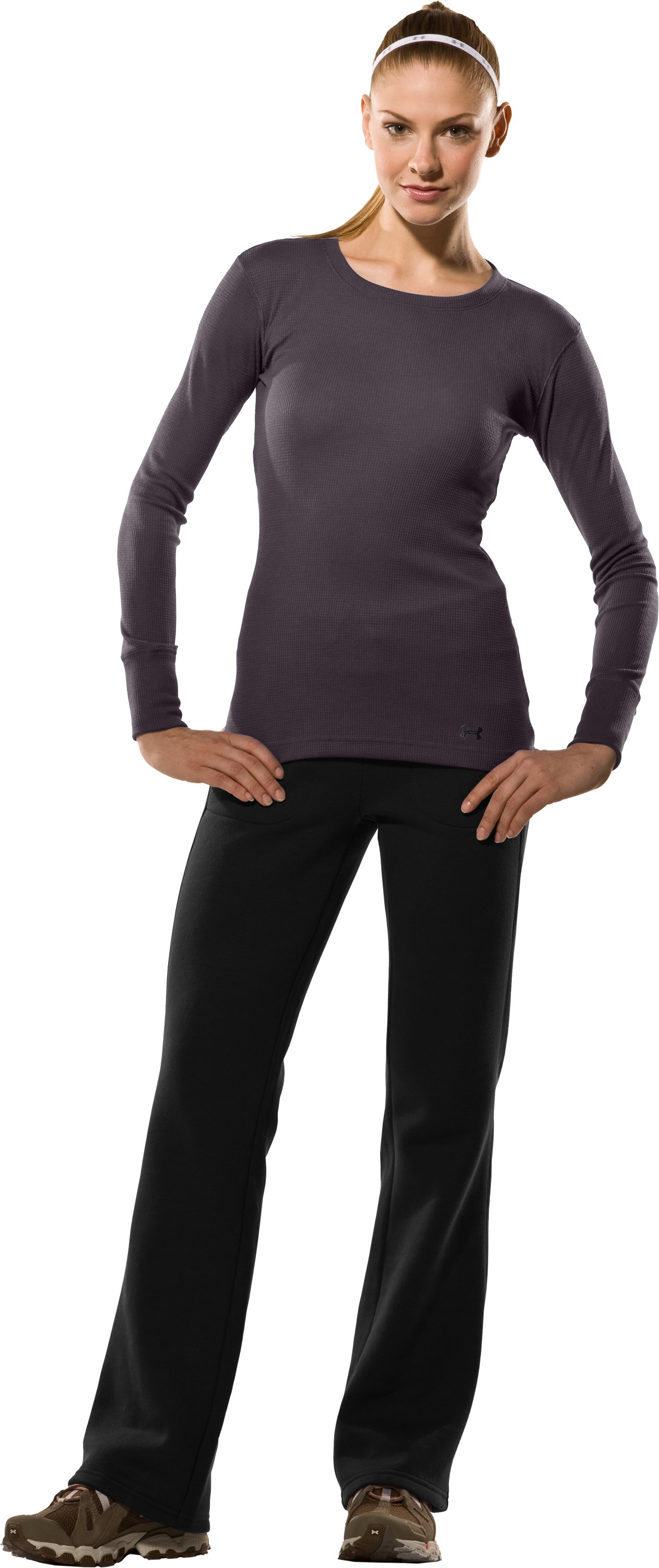 Women's Waffle Long Sleeve Crew Neck, Charcoal, Front